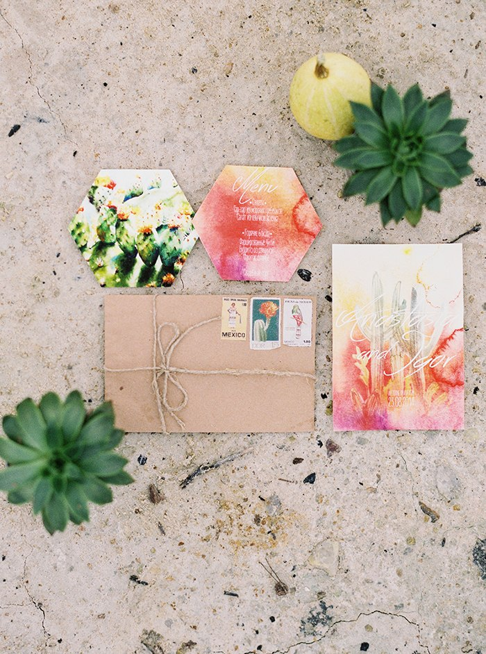 Watercolor Invitation Suite with Cactus Details
