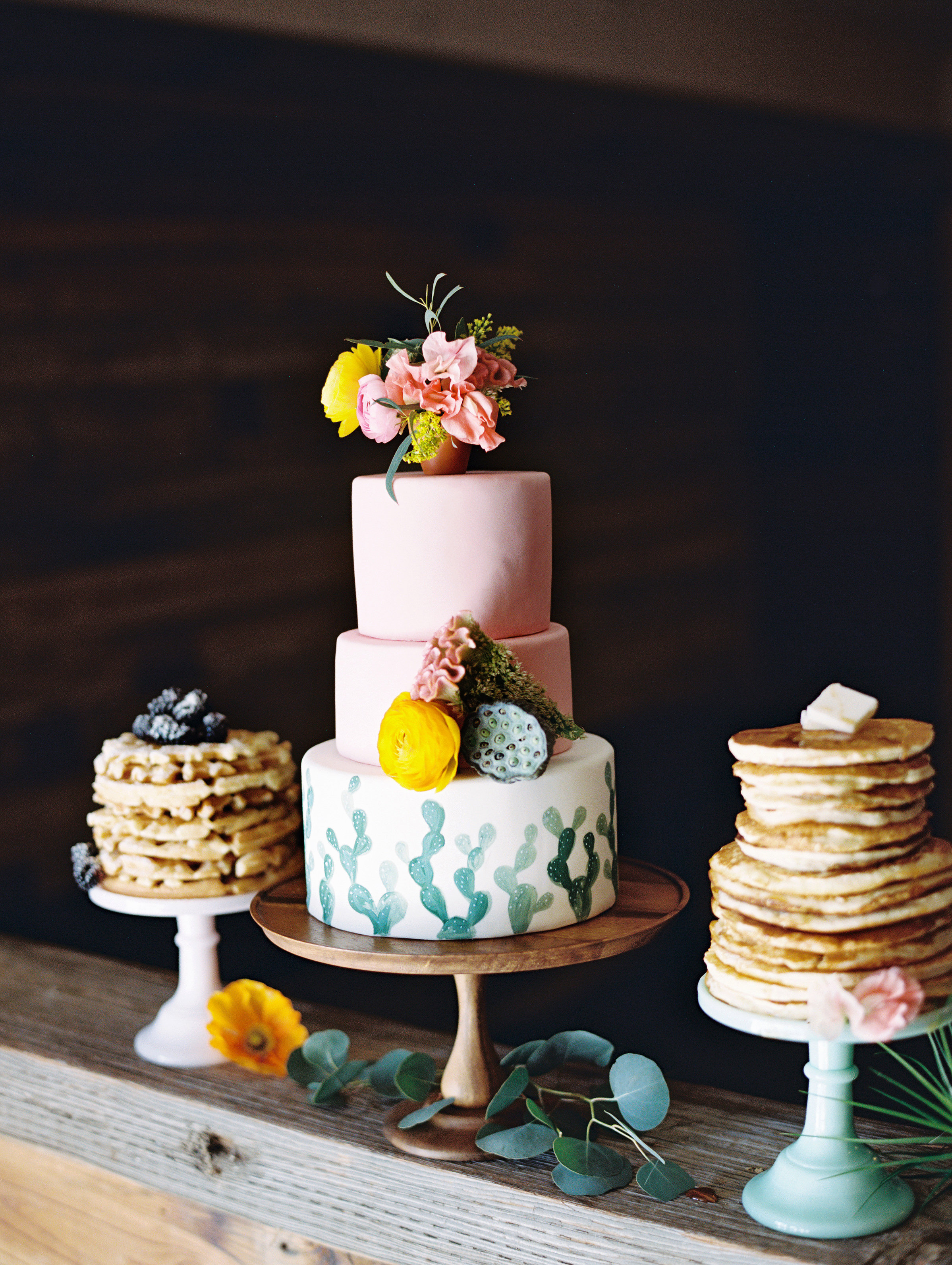 Wedding Cake Decorated with Cactus Motif