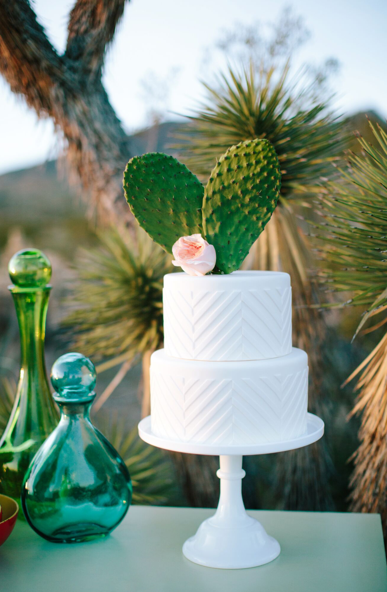 Two-Tiered White Wedding Cake Topped with Cactus