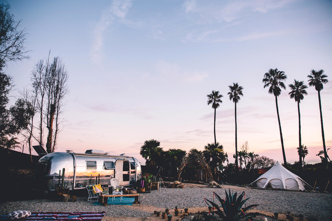 trailer tent sanctuary palm trees malibu