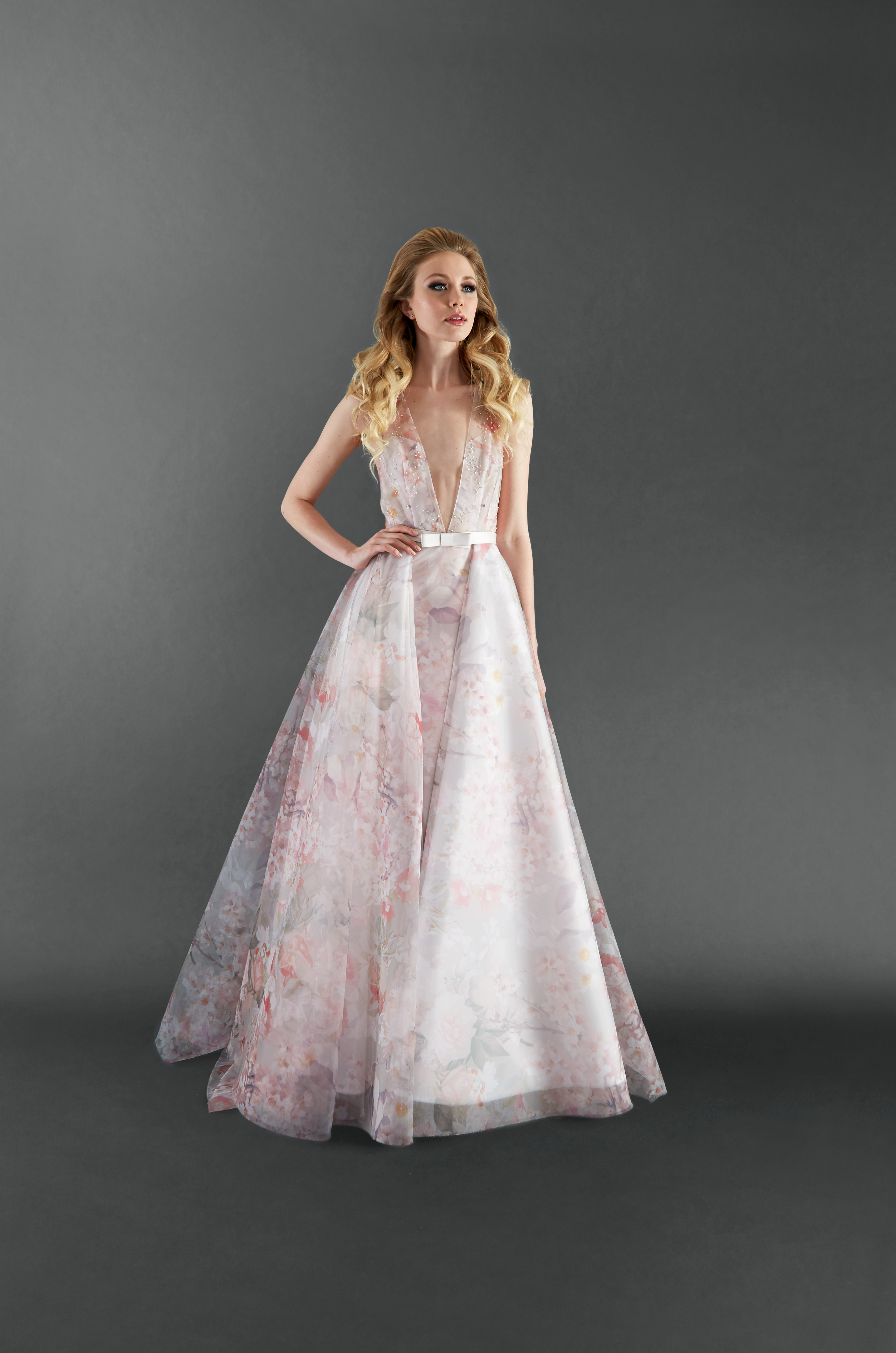 randi rahm v-neck pink floral wedding dress spring 2018