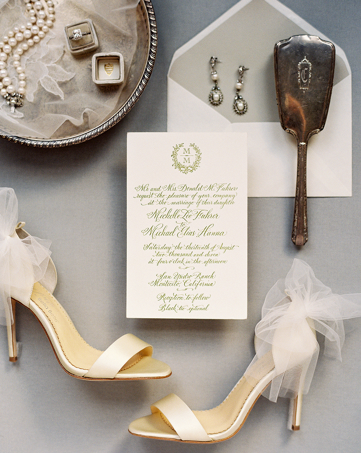 neutral flat lay with tulle bowls on heels