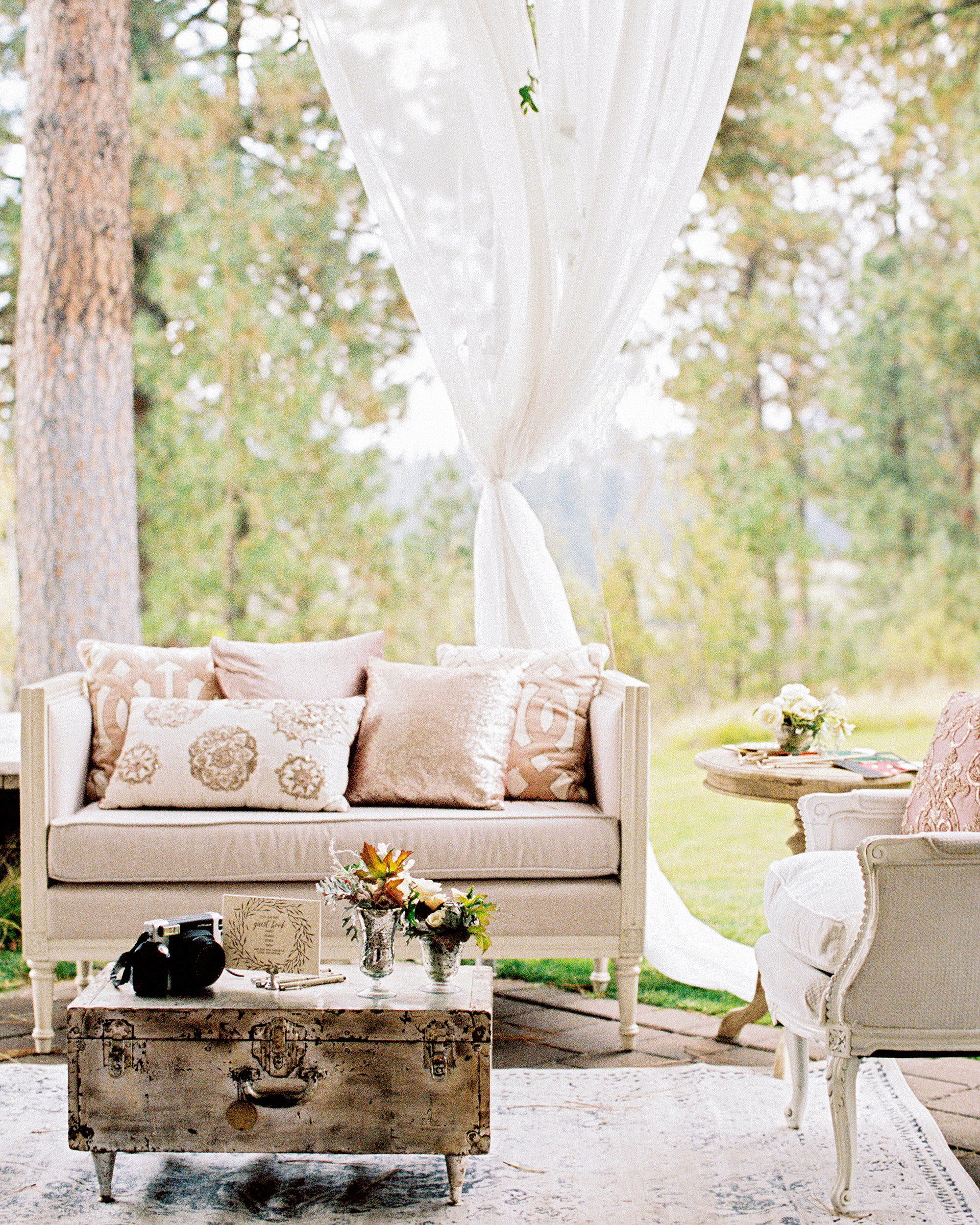 lounge space with knotted tulle backdrop