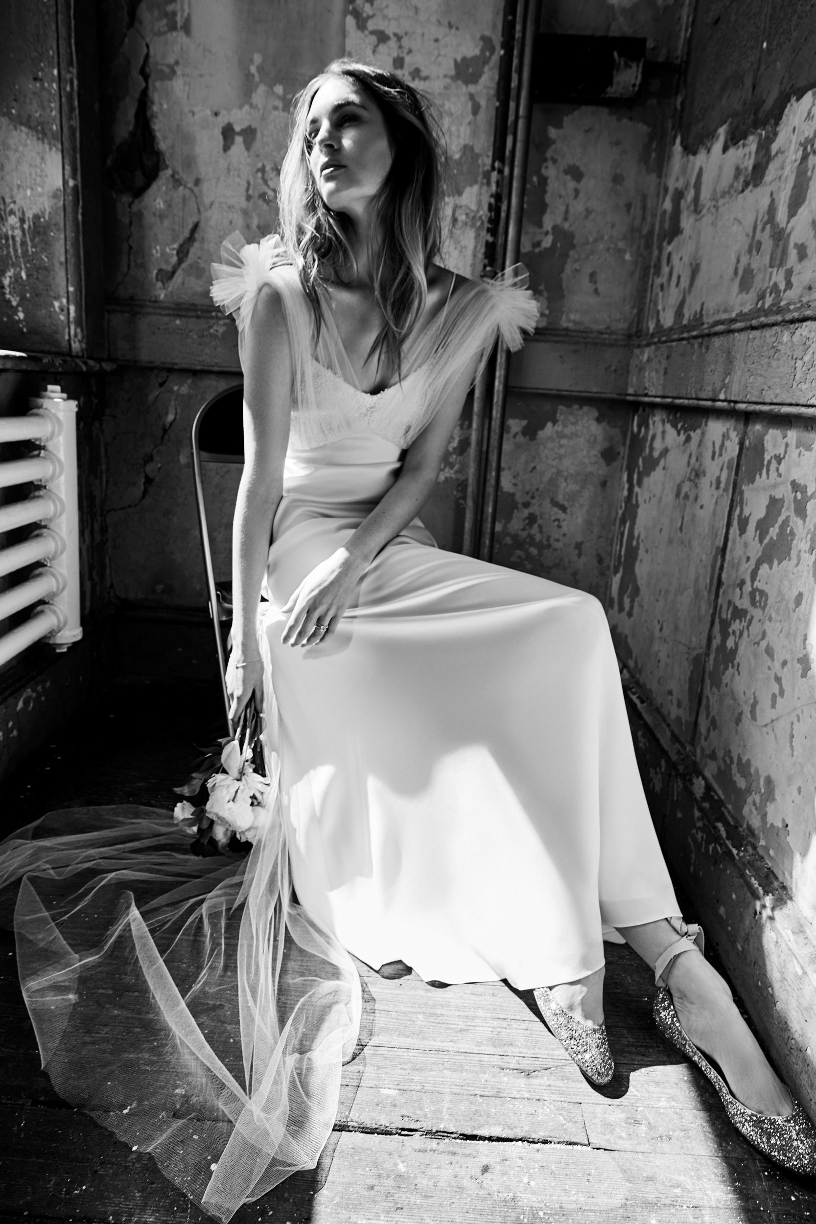 savannah miller tulle sleeve v-neck spring 2018 wedding dress