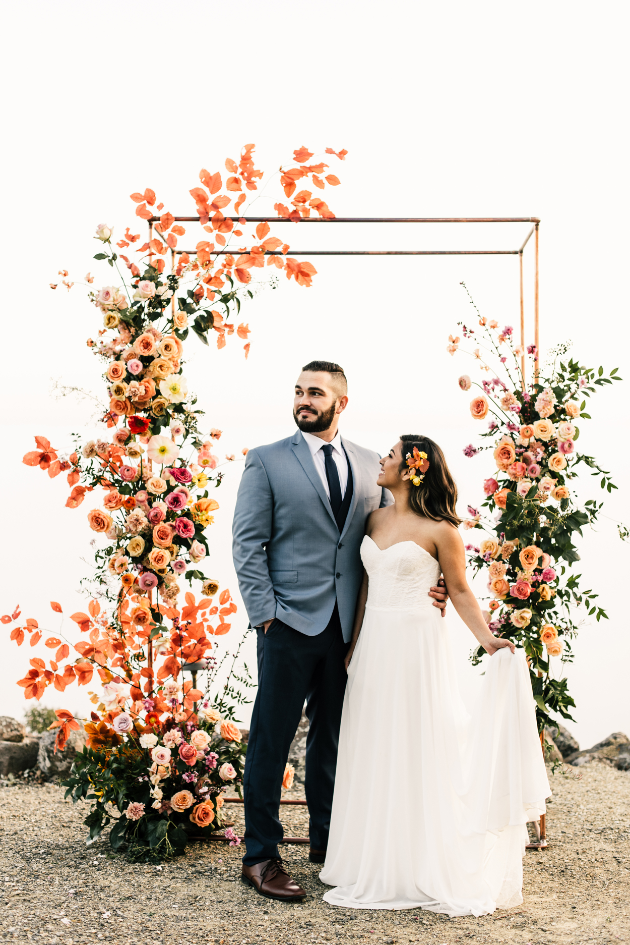 copper and pink wedding color scheme
