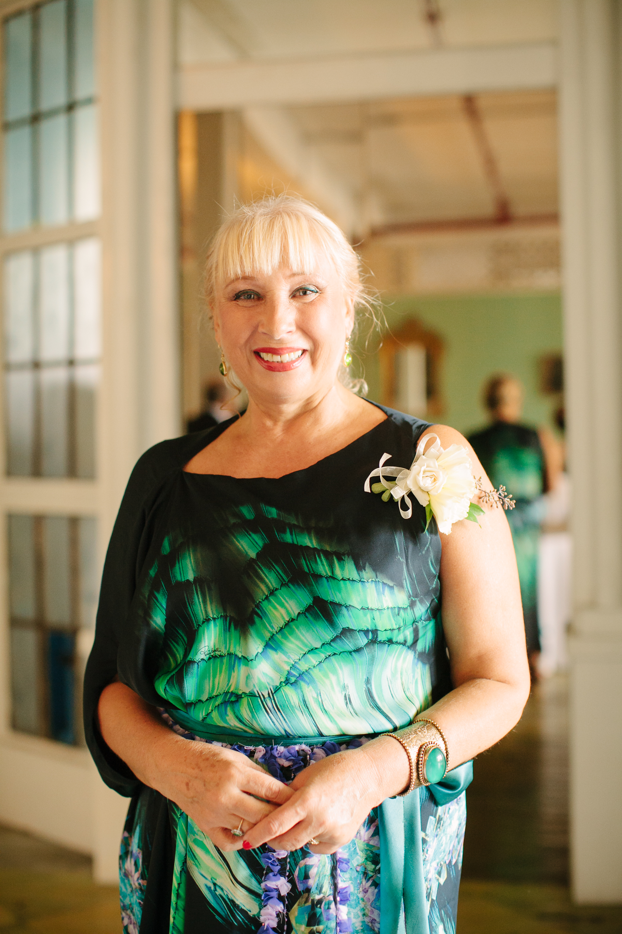 Wedding Guest Wearing a Green and Black Dress