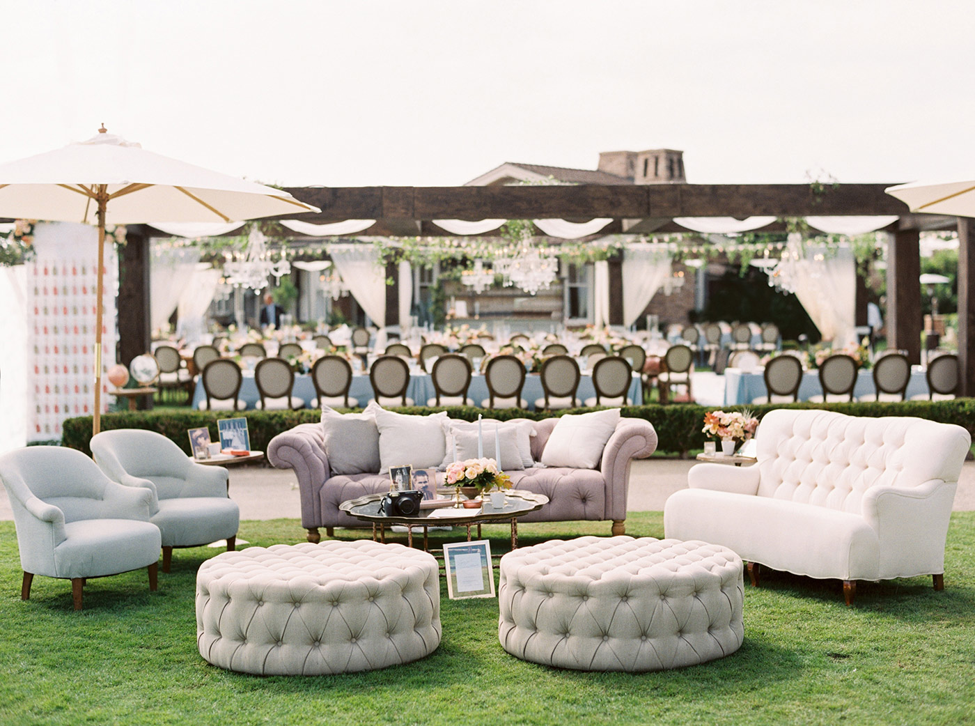 mykaela and brendon wedding lounge seating on lawn