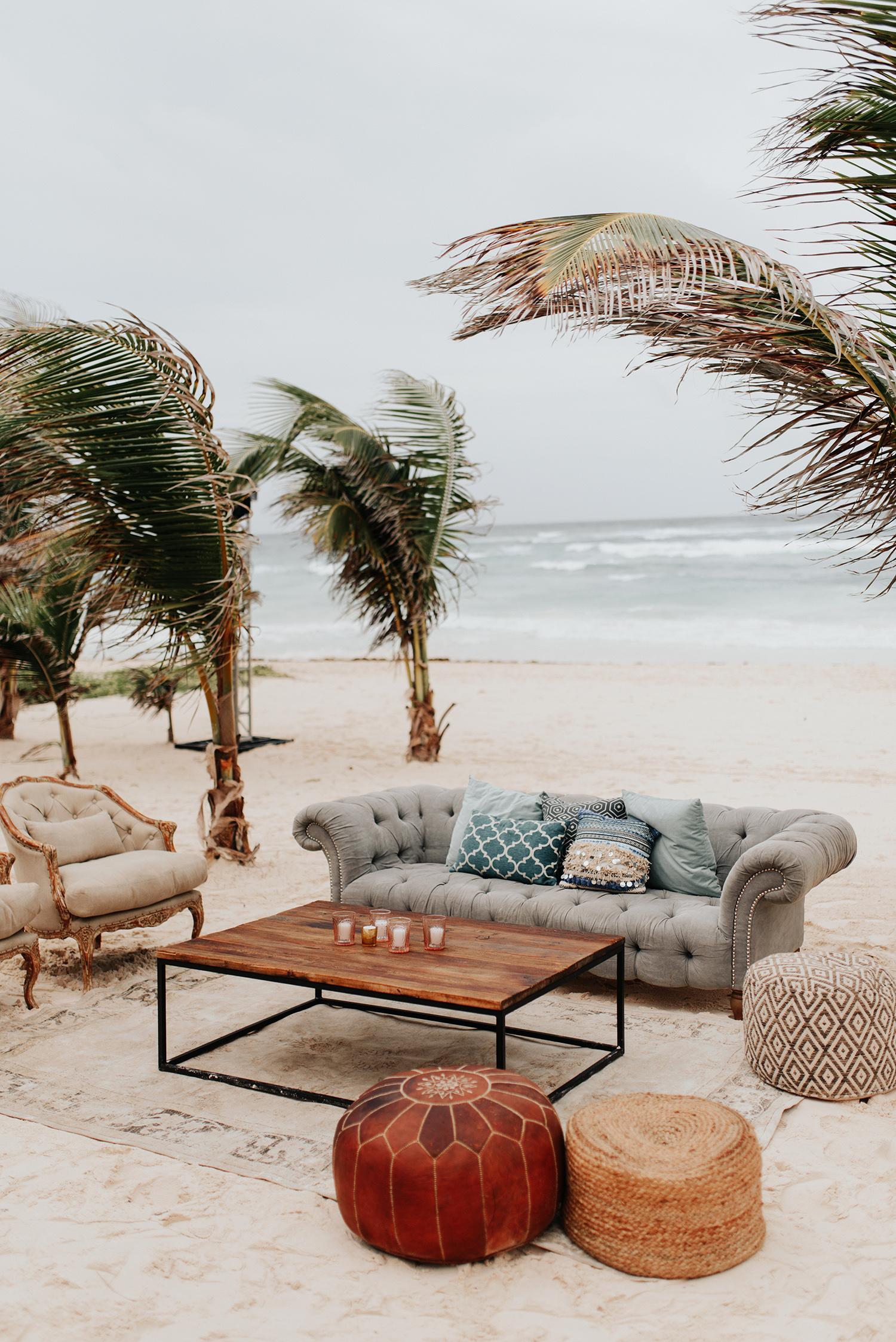wedding beach lounge vintage seating