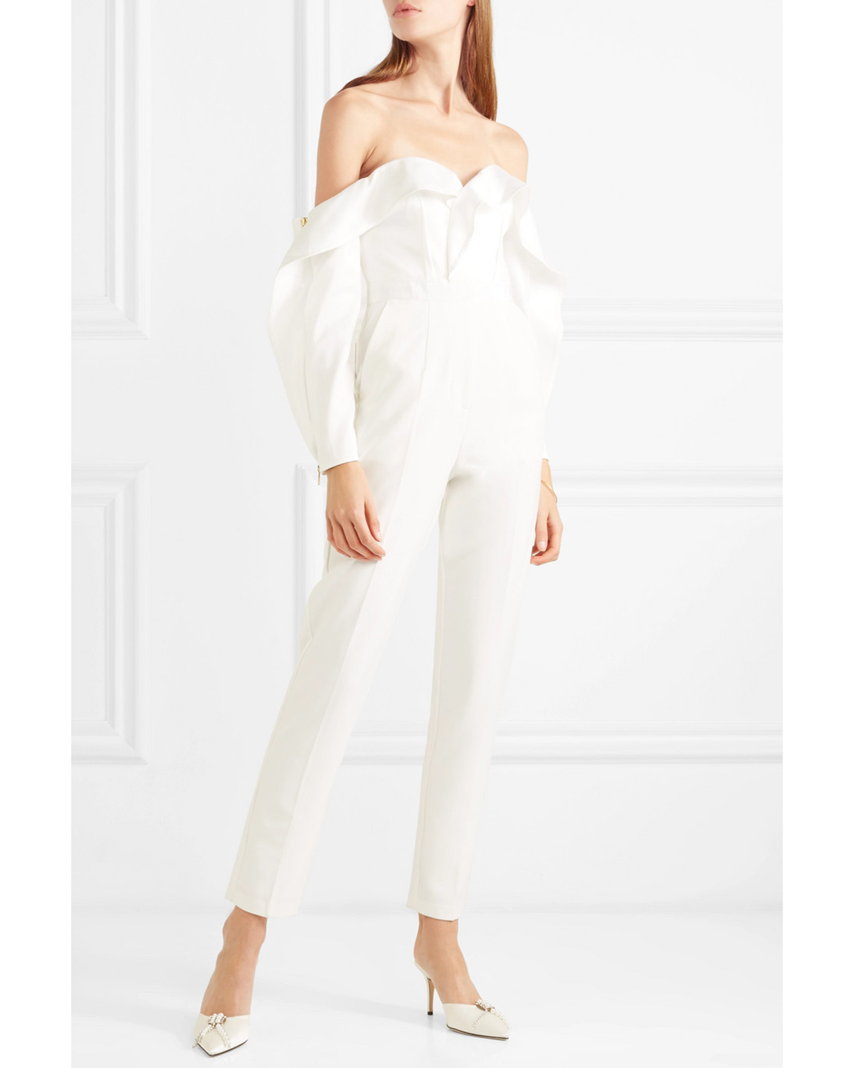 Off-the-Shoulder Ruffled Satin Jumpsuit