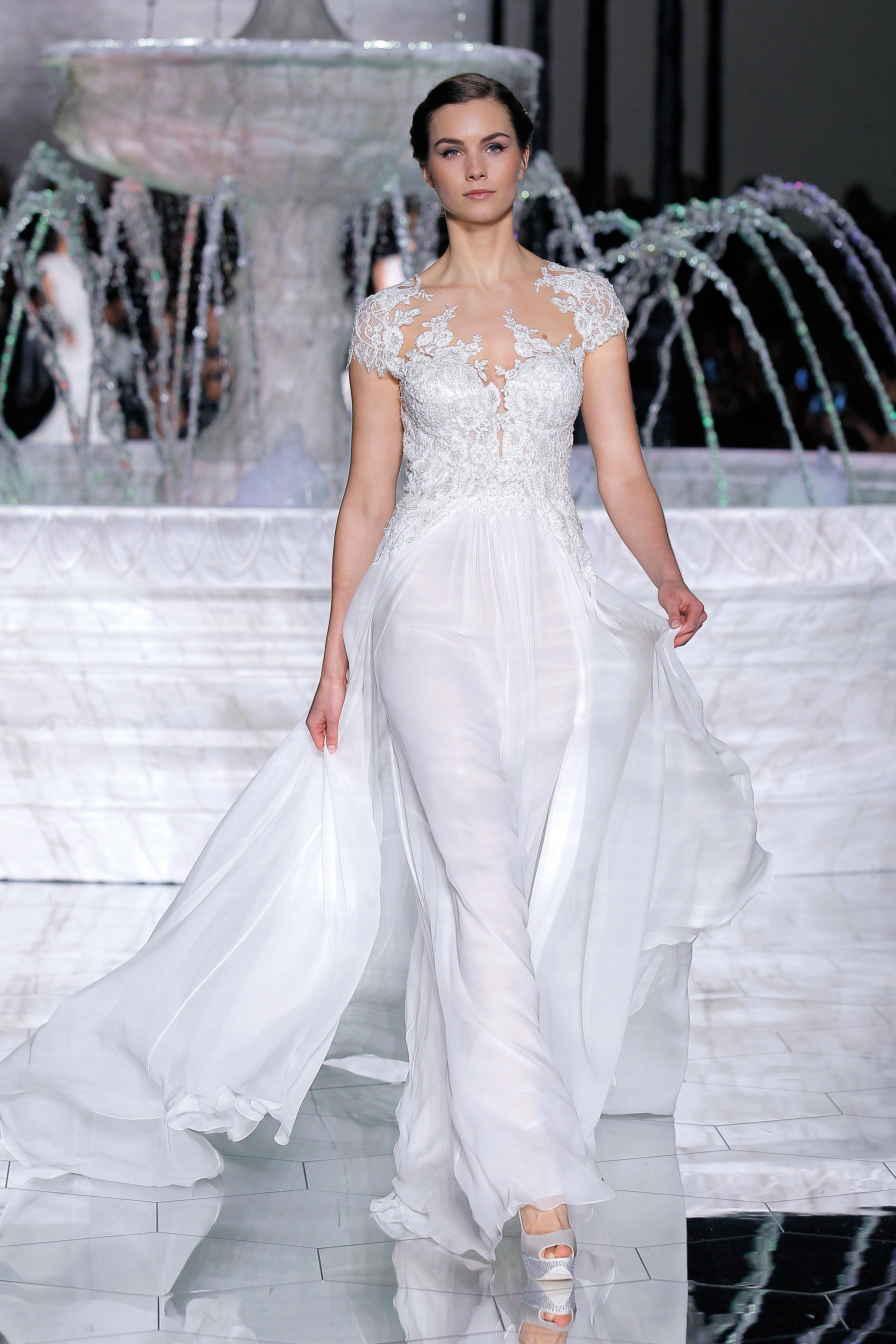 pronovias cap sleeve wedding dress spring 2018