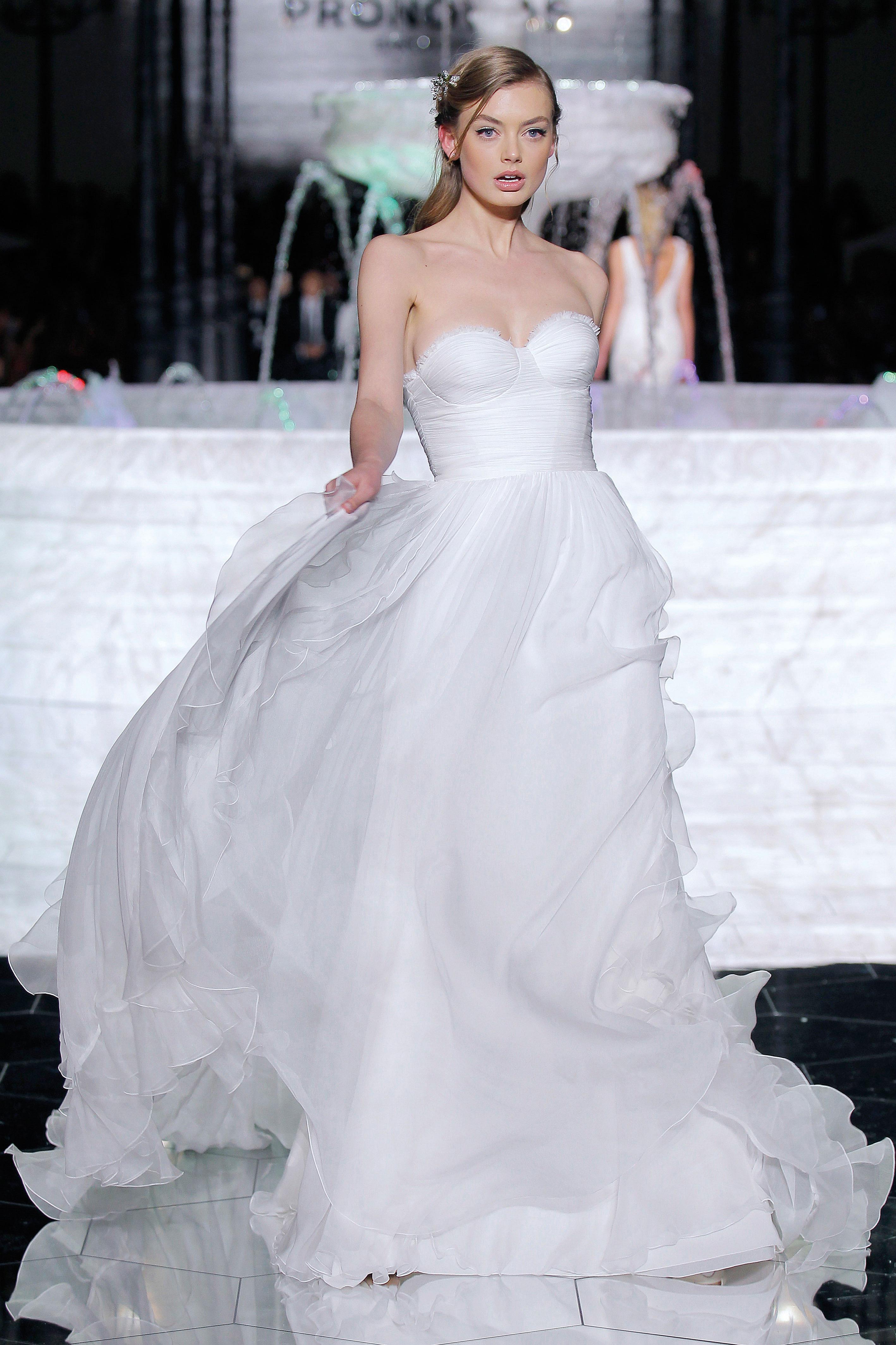 pronovias strapless sweetheart wedding dress spring 2018