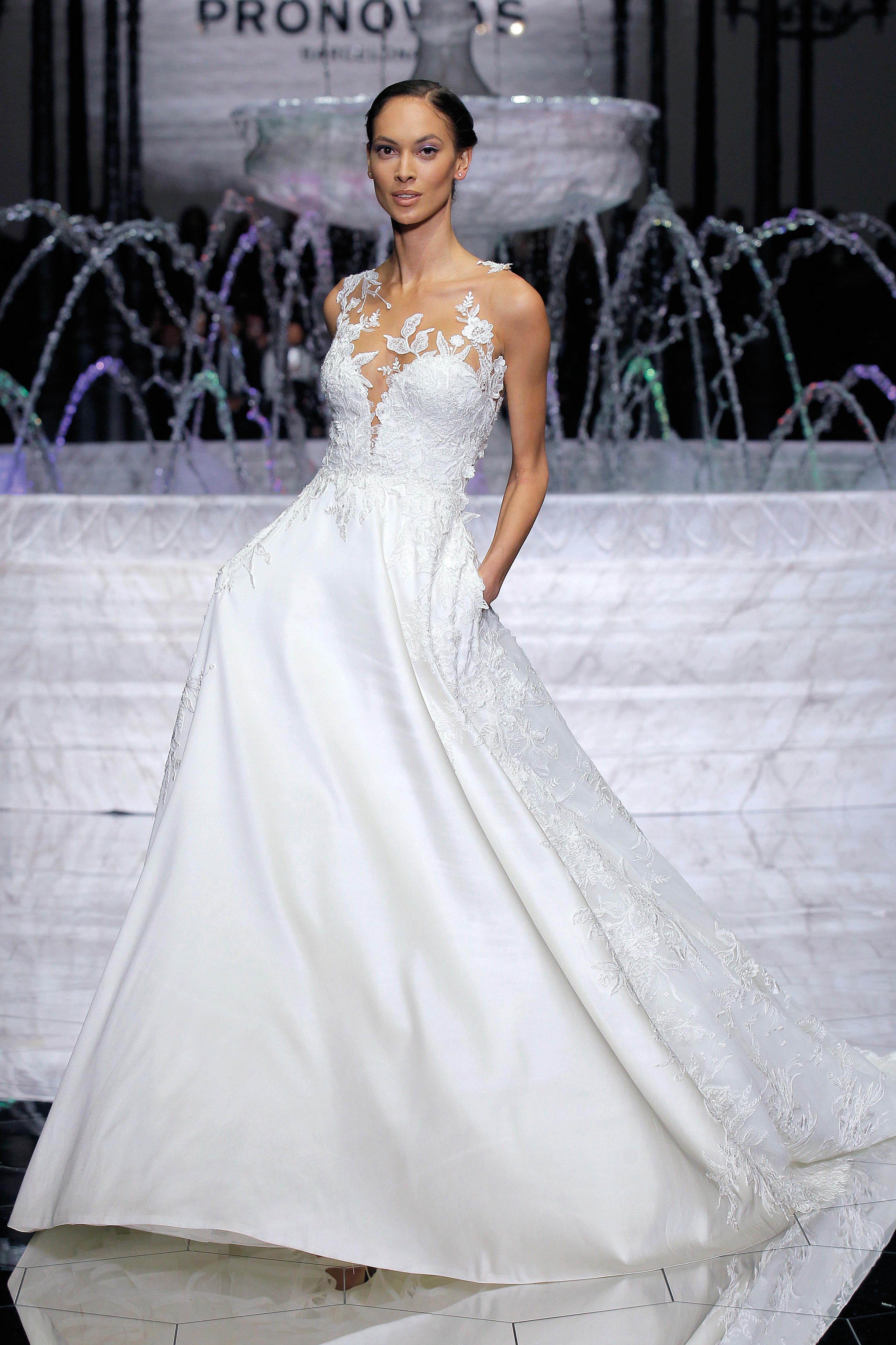 pronovias low v-neck wedding dress spring 2018