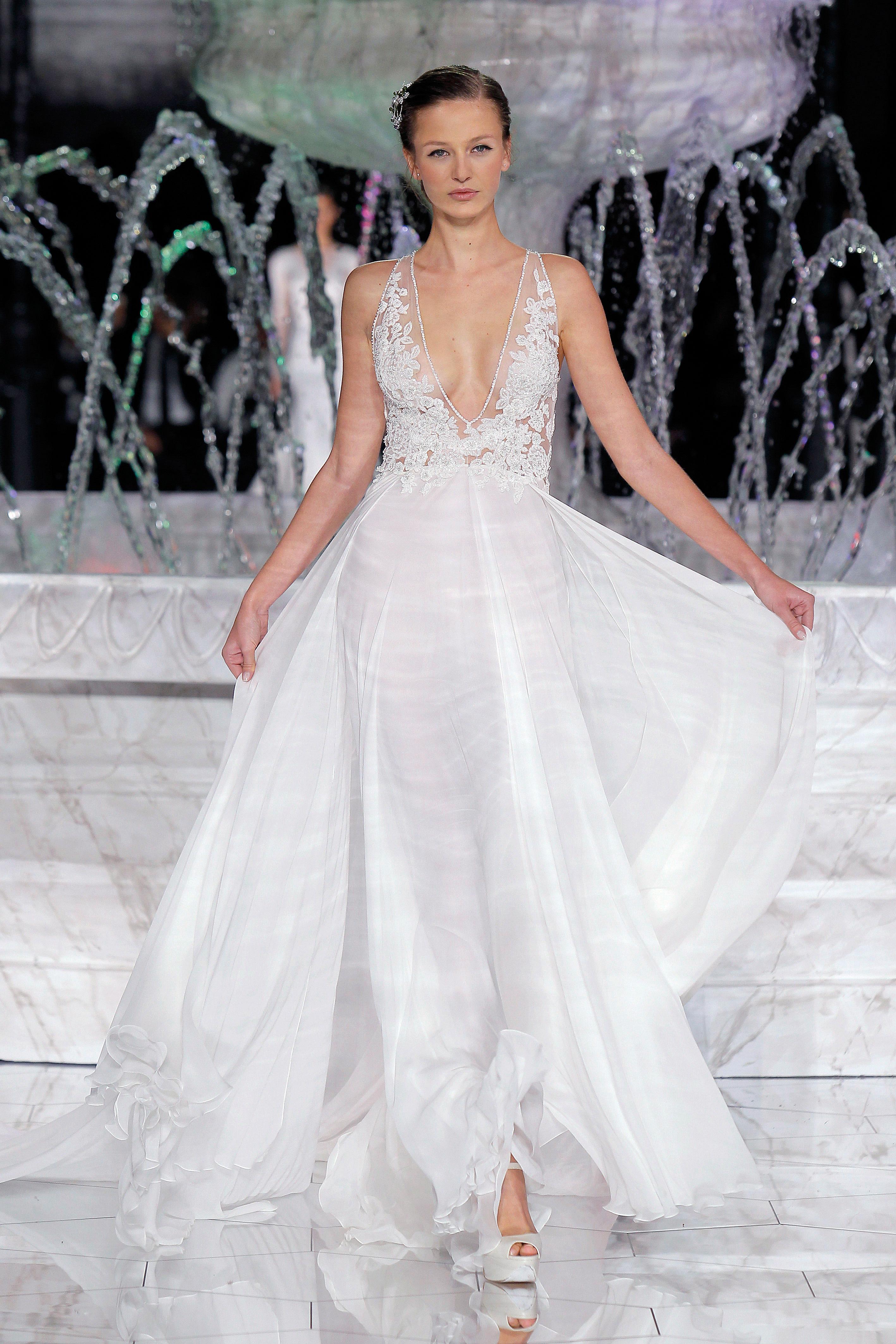 pronovias sheer v-neck wedding dress spring 2018