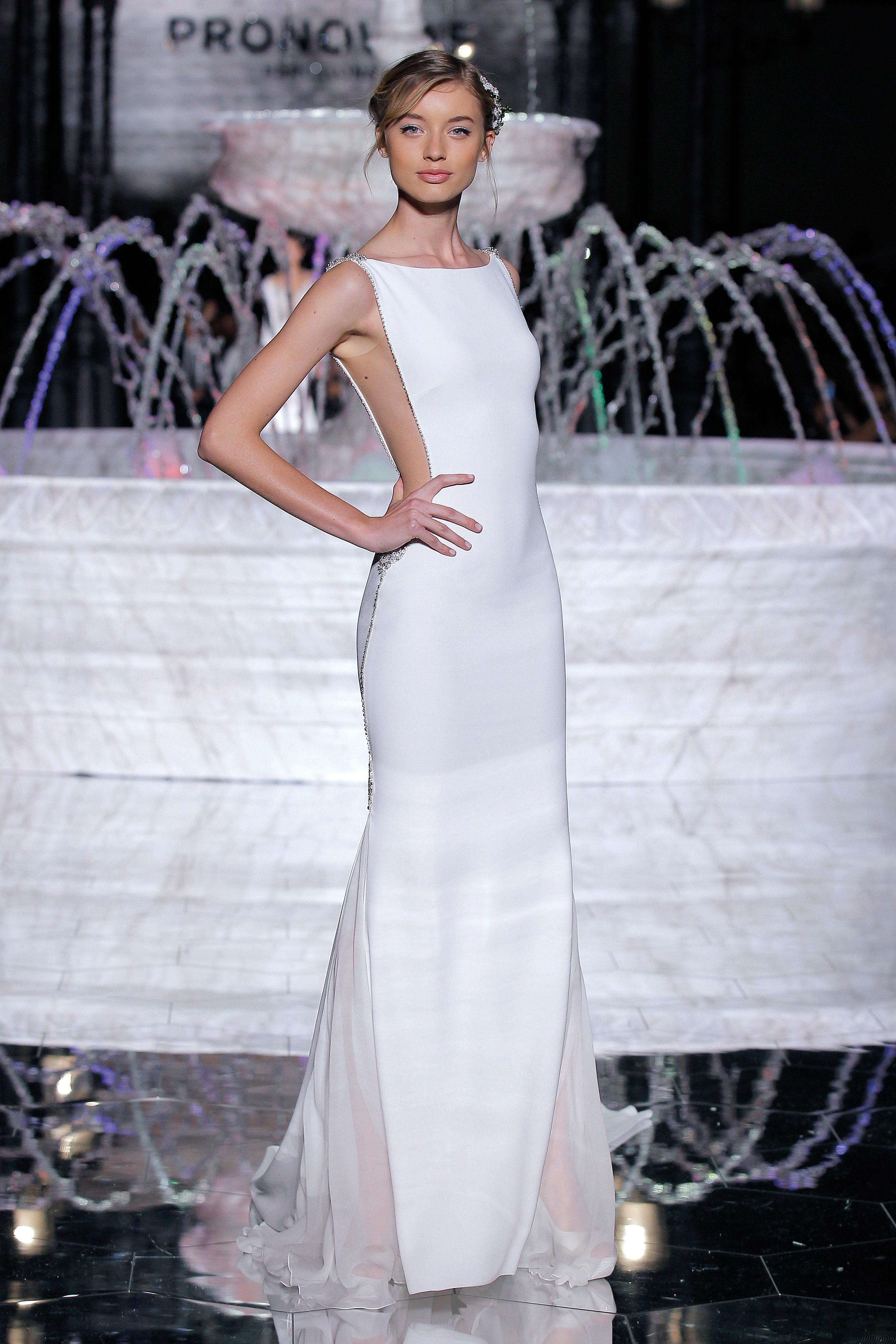 pronovias open-sided sheath wedding dress spring 2018