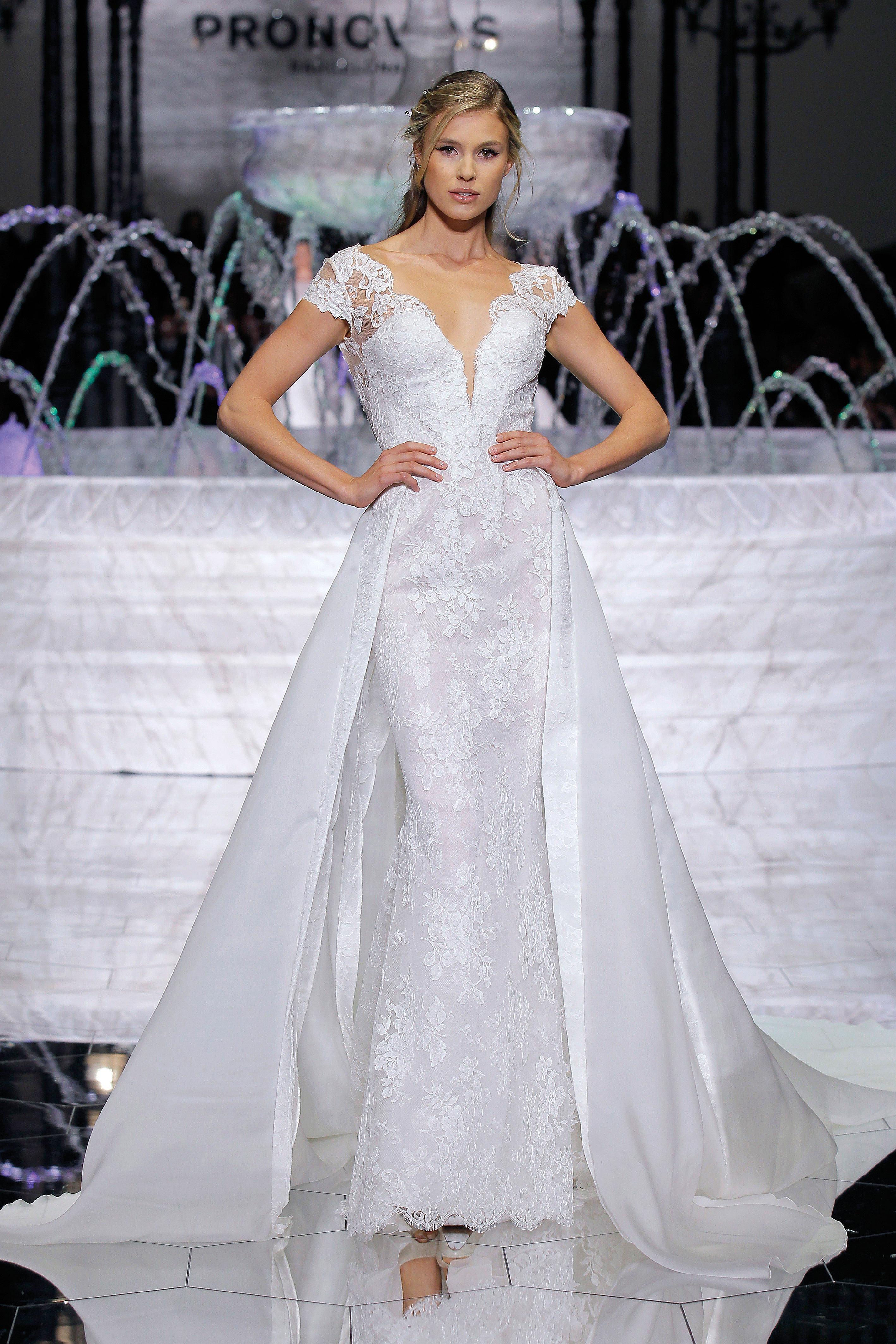 pronovias cap sleeve v-neck wedding dress spring 2018