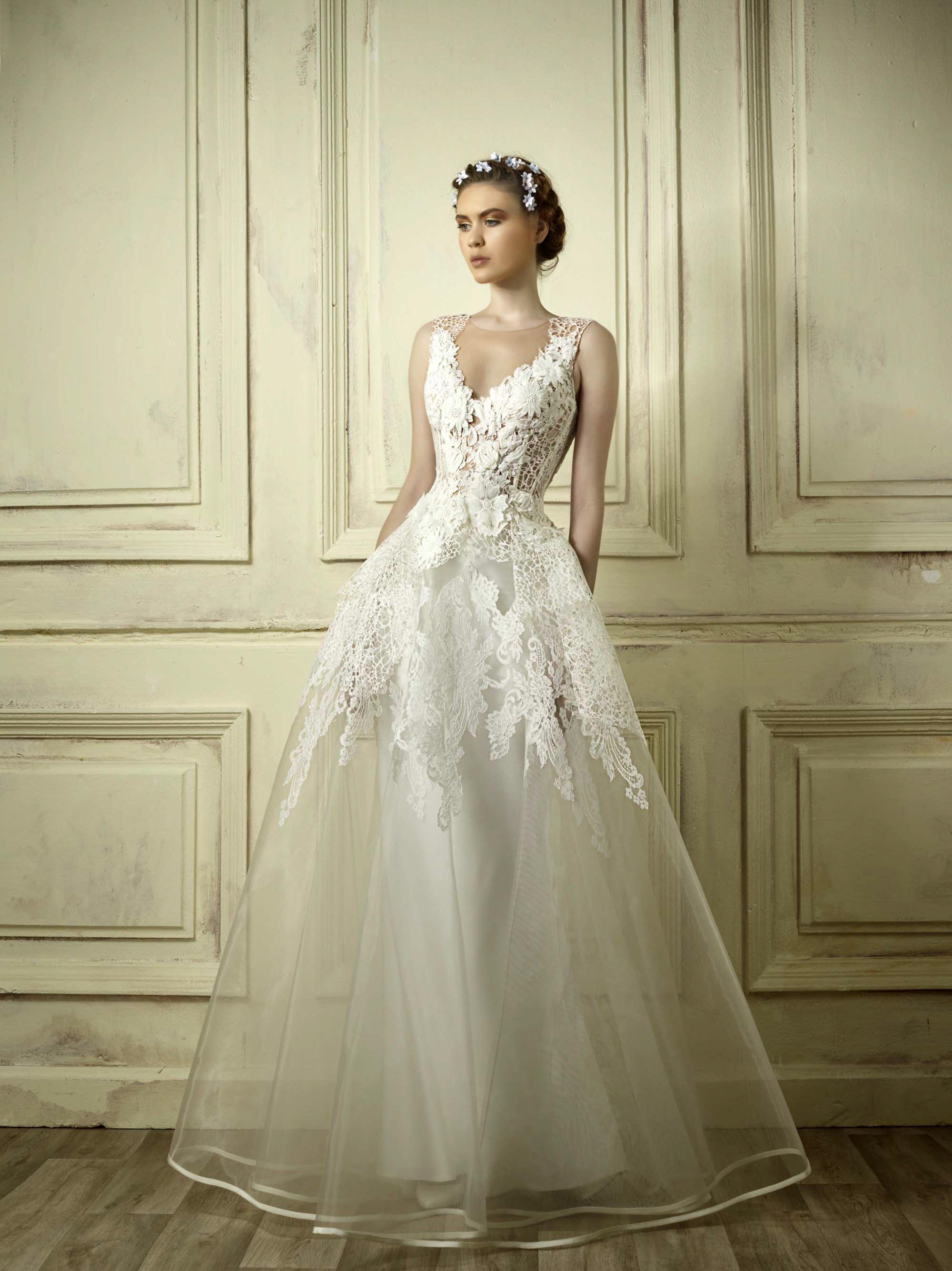 gemy maalouf lace a-line wedding dress spring 2018