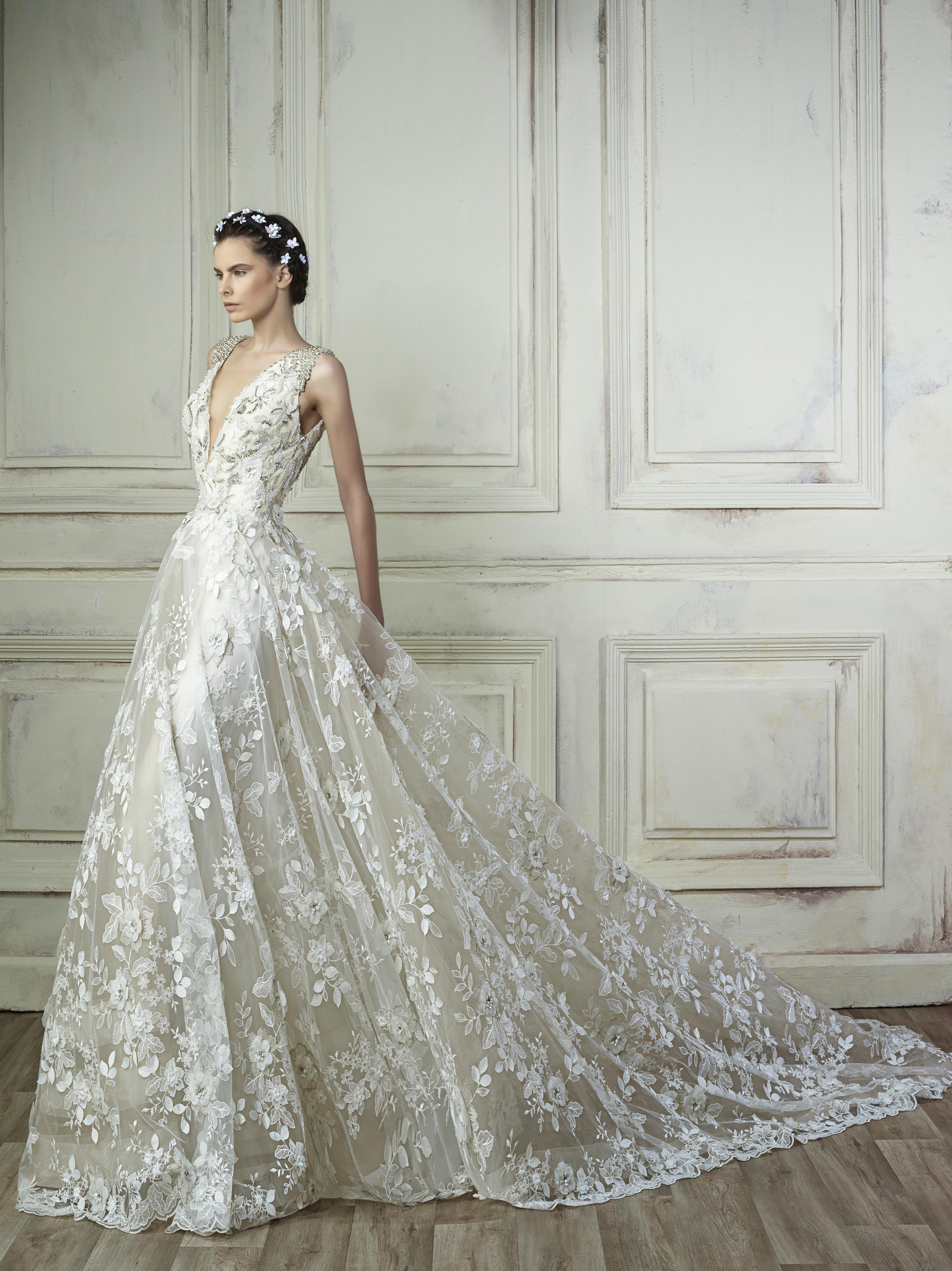 v-neck a-line gemy maalouf wedding dress spring2018