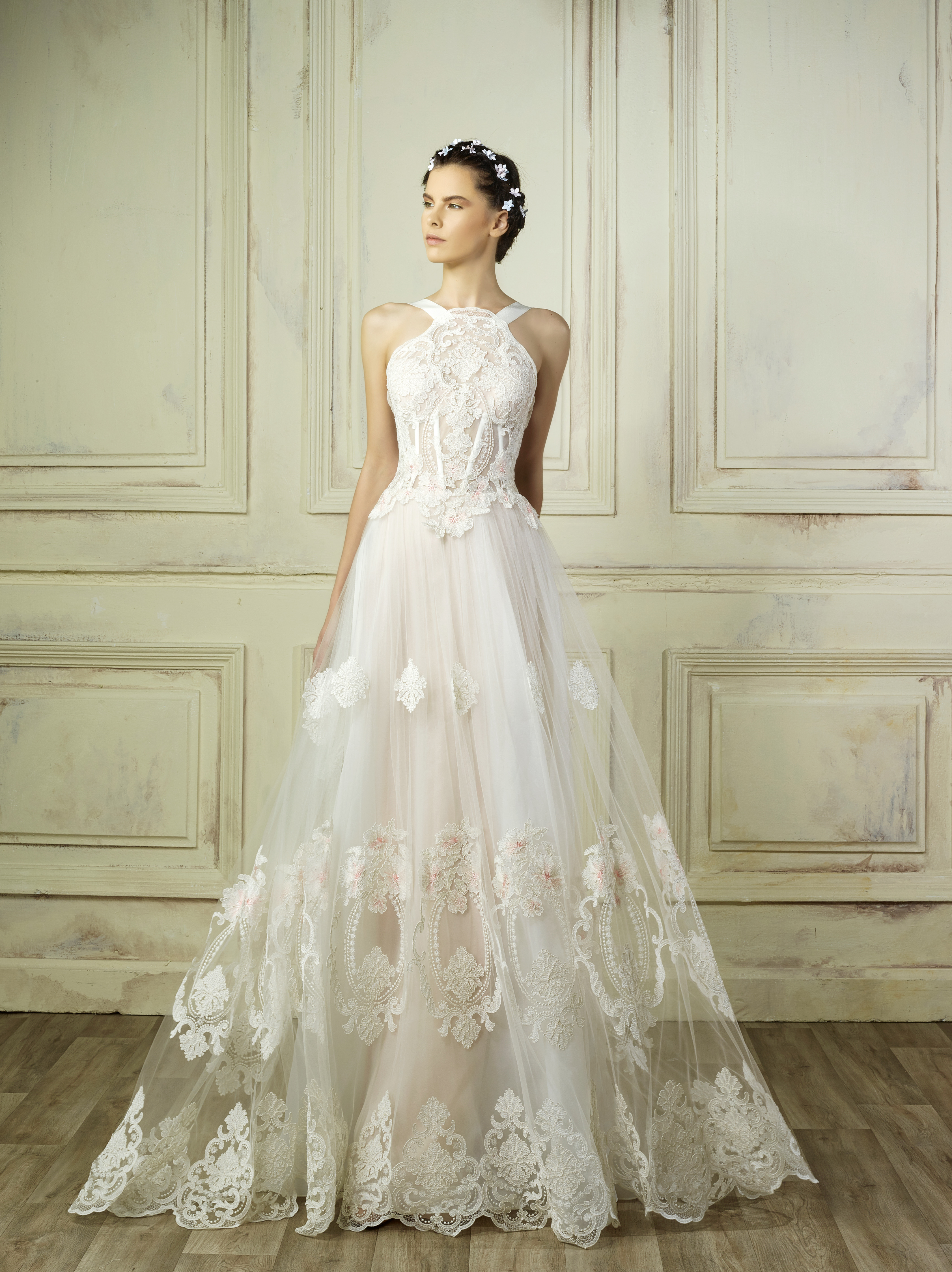 high neck a-line lace gemy maalouf wedding dress spring2018