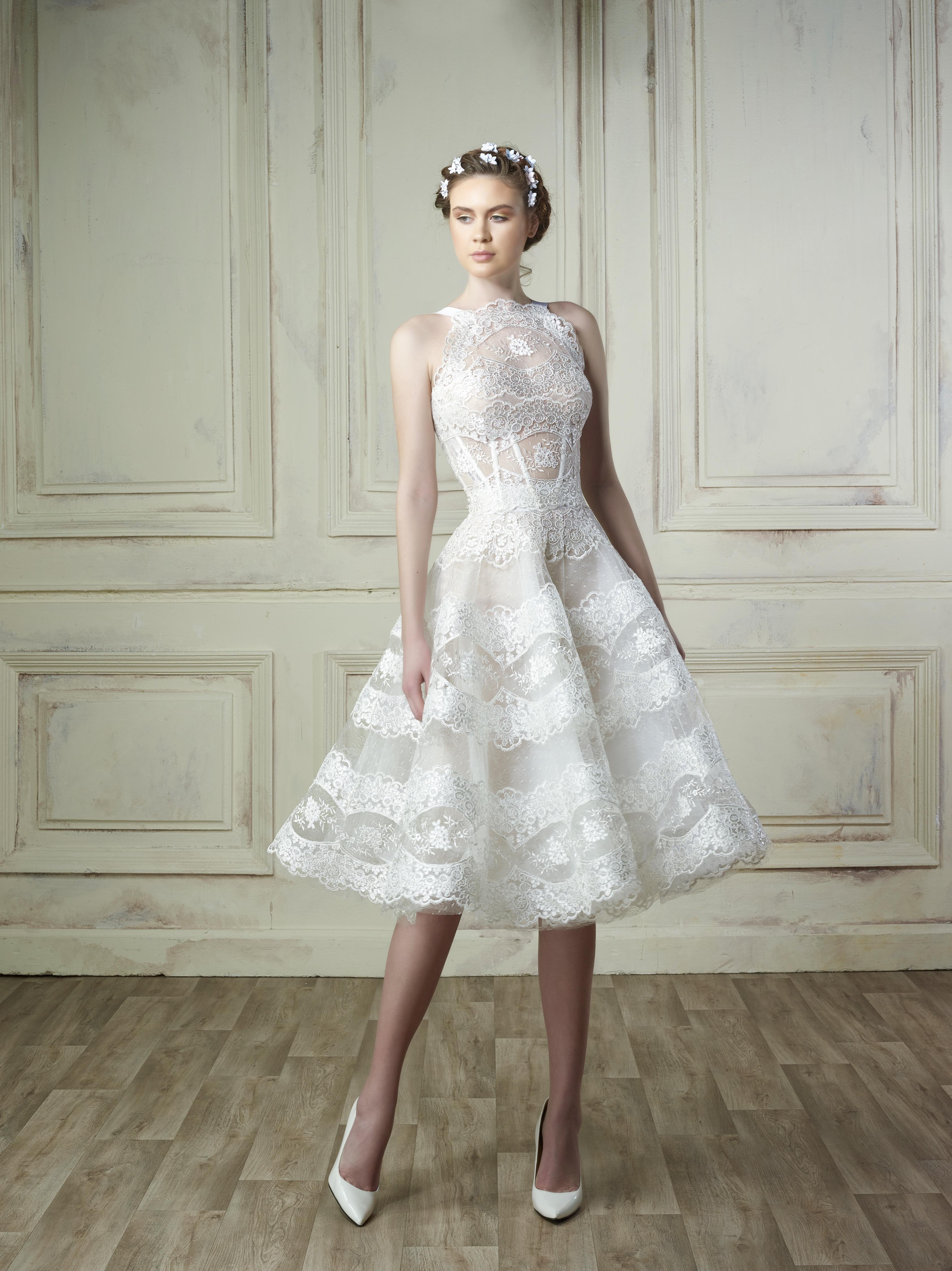 high neck knee length gemy maalouf wedding dress spring2018