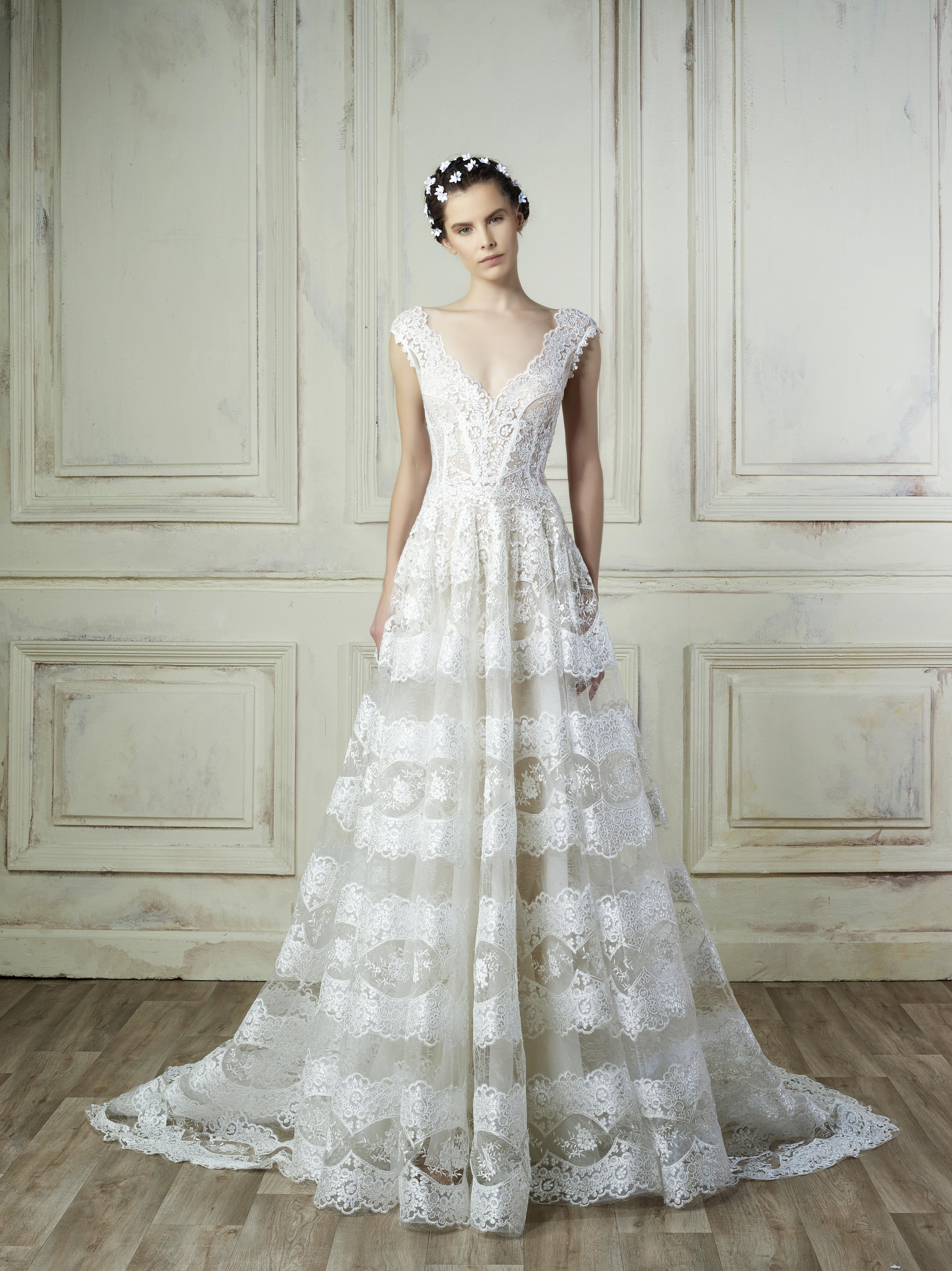 lace v-neck gemy maalouf wedding dress spring2018