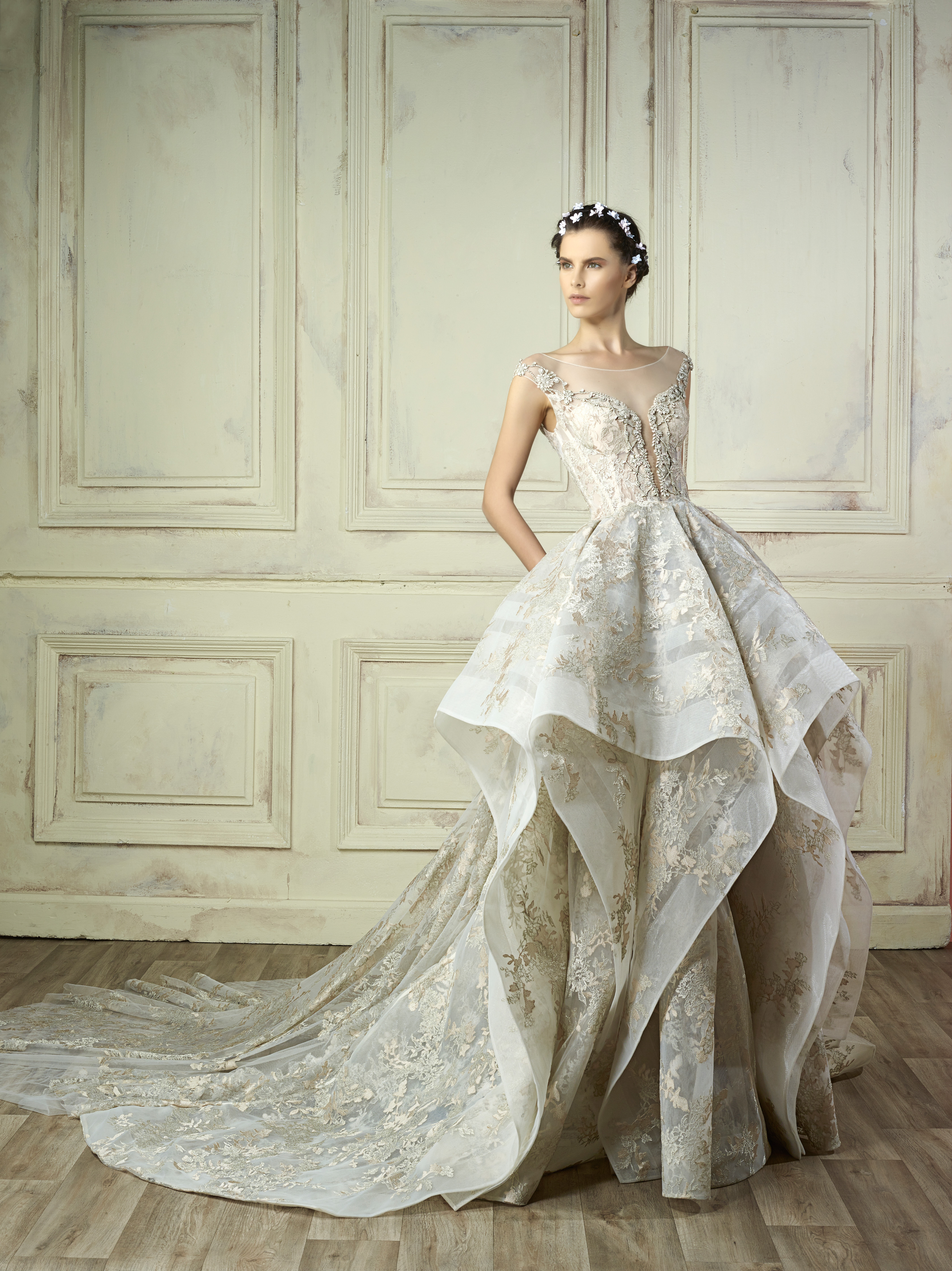 illusion neckline ball gown gemy maalouf wedding dress spring2018