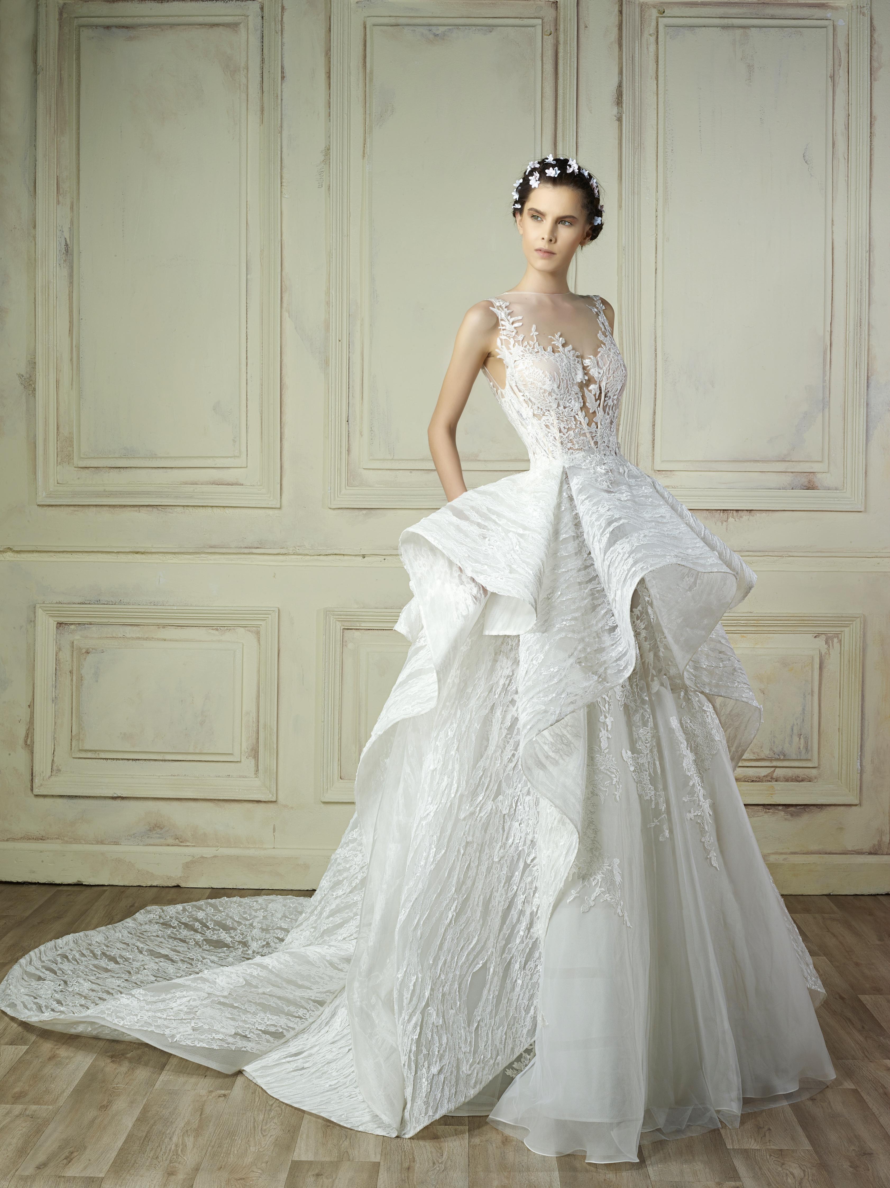 illusion ball gown gemy maalouf wedding dress spring2018