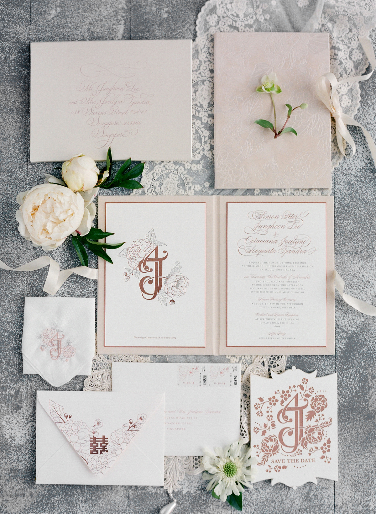 rose gold wedding ideas stationary suite