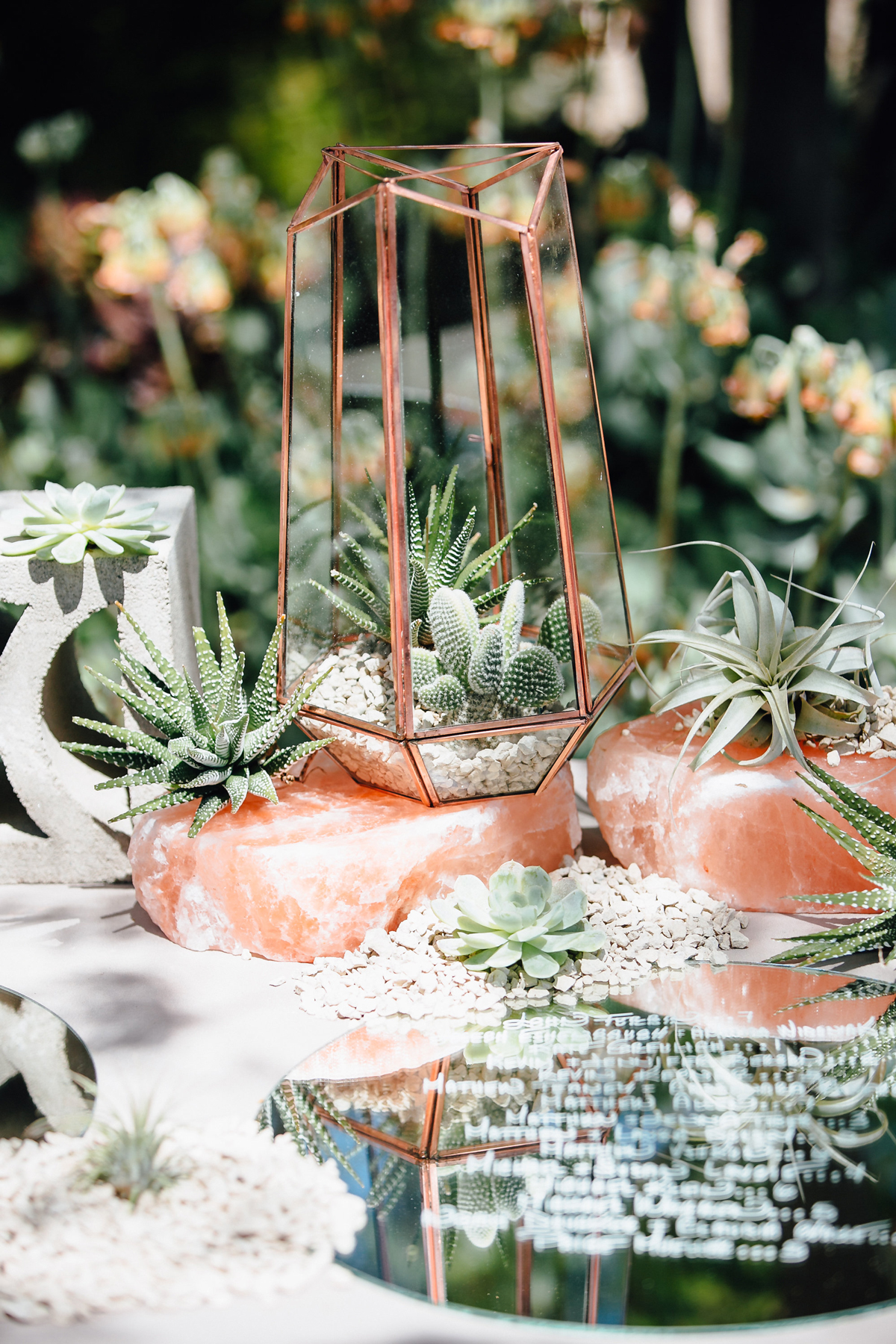 rose gold wedding ideas metallic terrariums