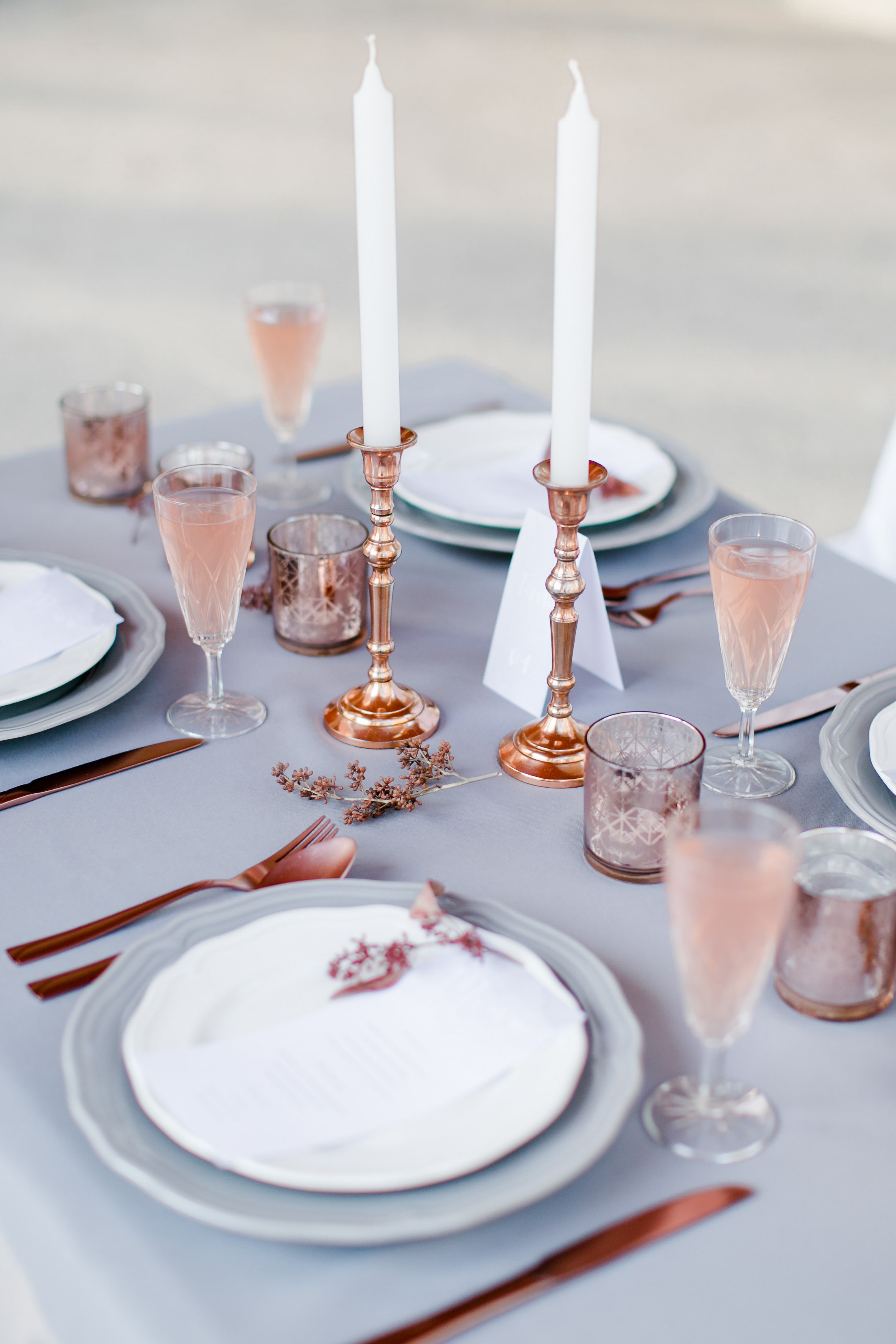 rose gold wedding ideas metallic cutlery and candle sticks