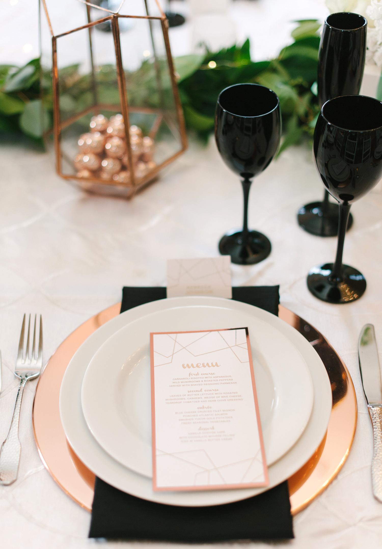 rose gold wedding ideas metallic table setting