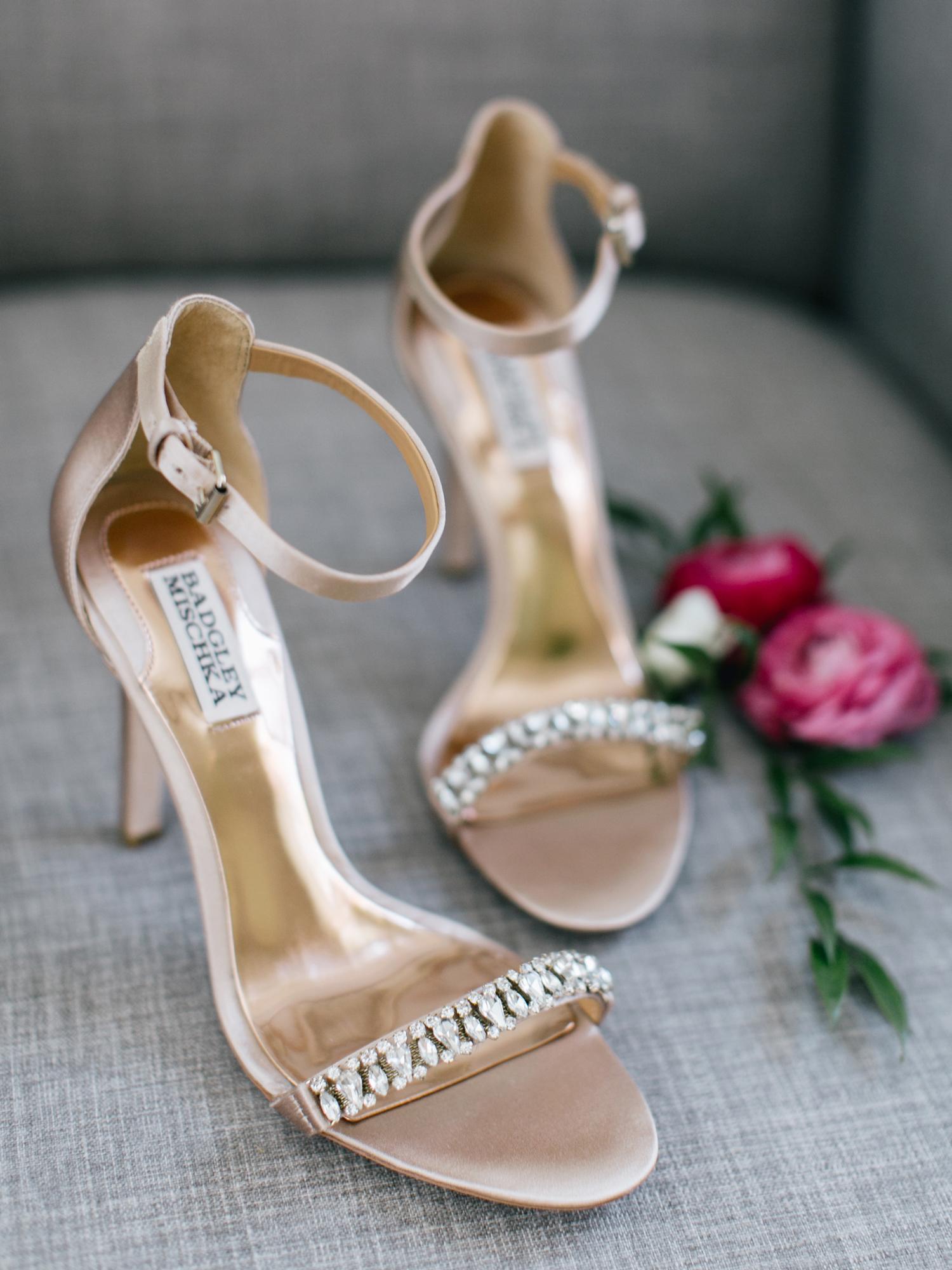 rose gold wedding ideas metallic heels