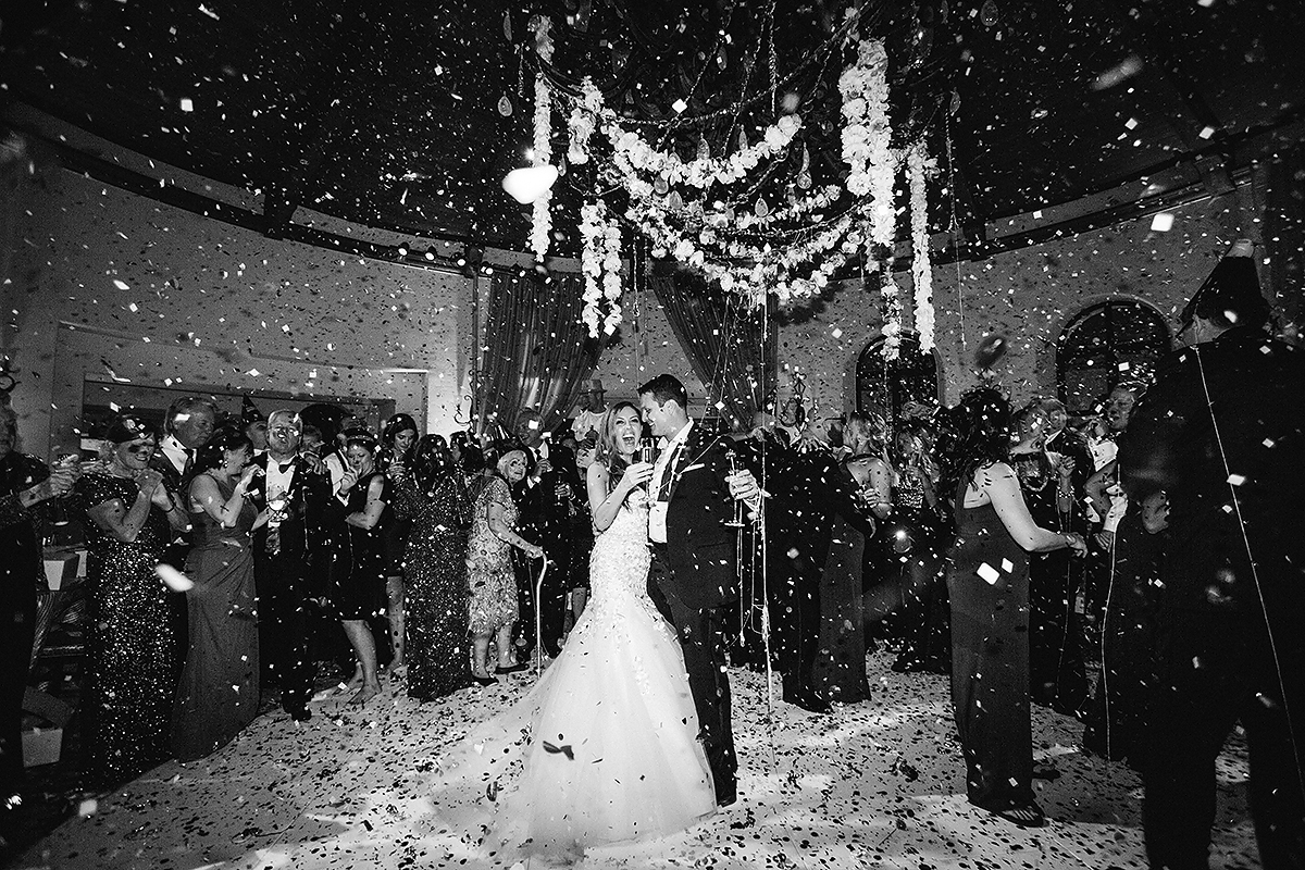 Confetti Falling at a Wedding Reception