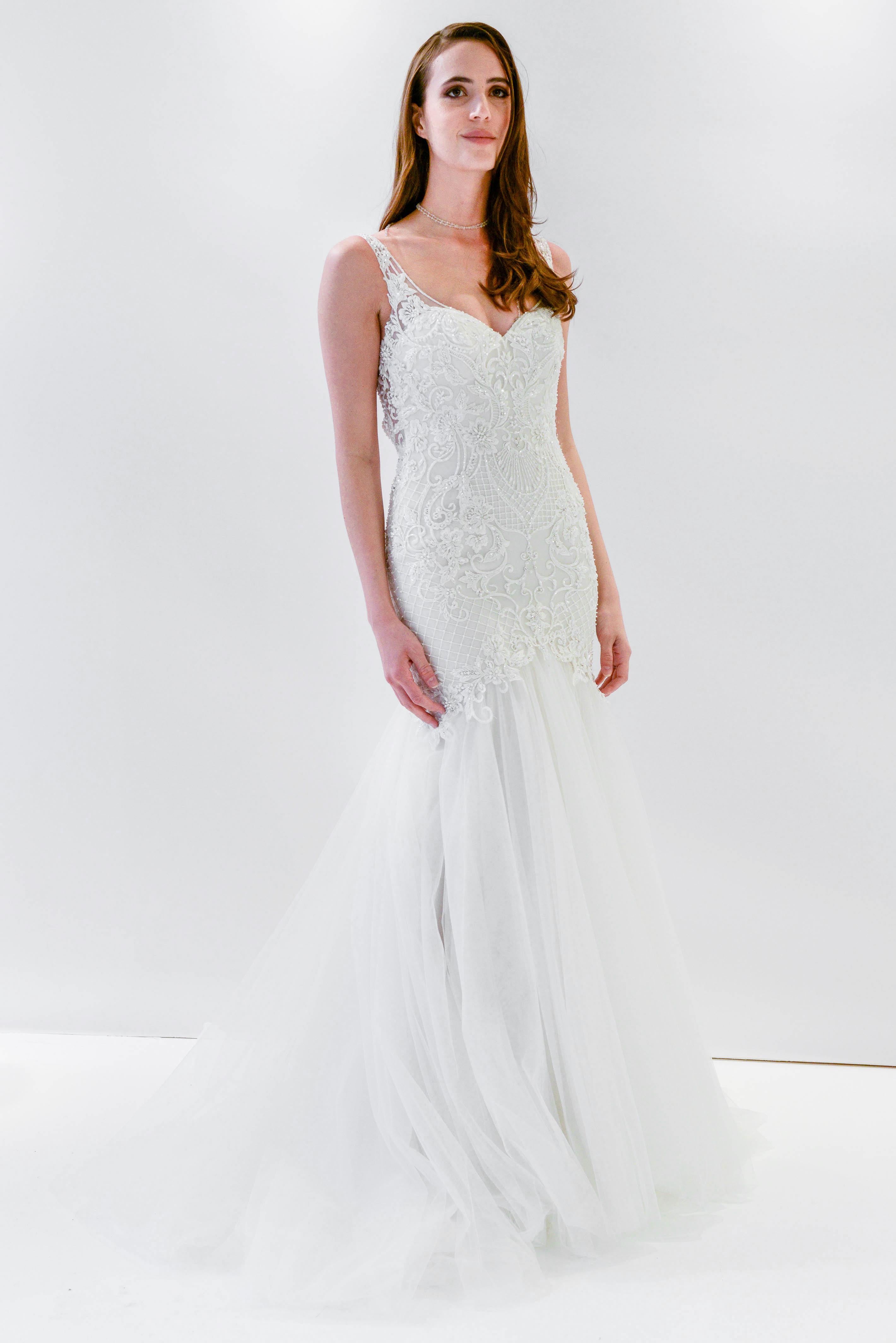 watters wtoo trumpet embellished sleeveless wedding dress spring 2018