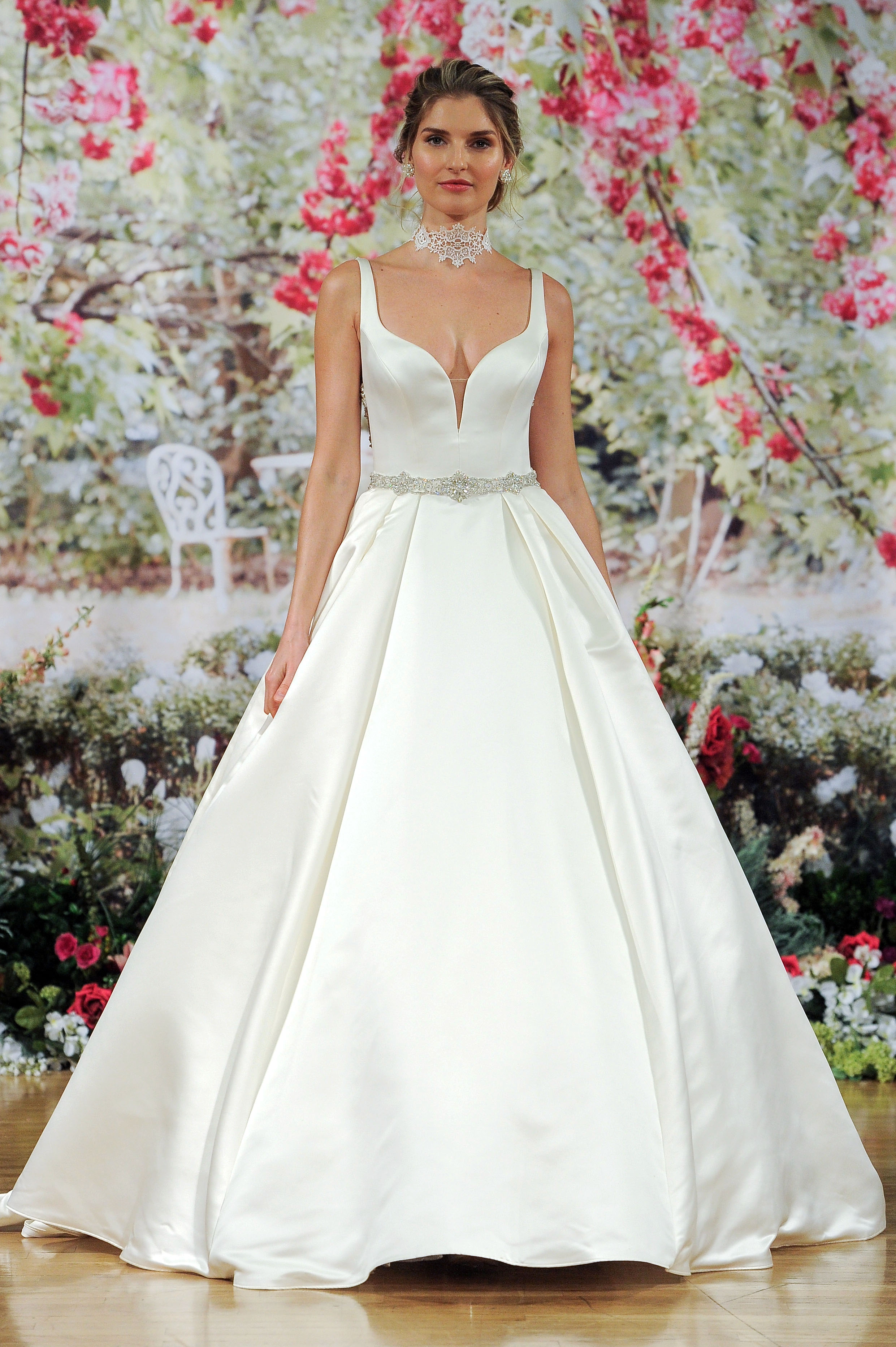 Sottero and Midgley Fall 2017 Deep-Neckline Wedding Dress with Choker