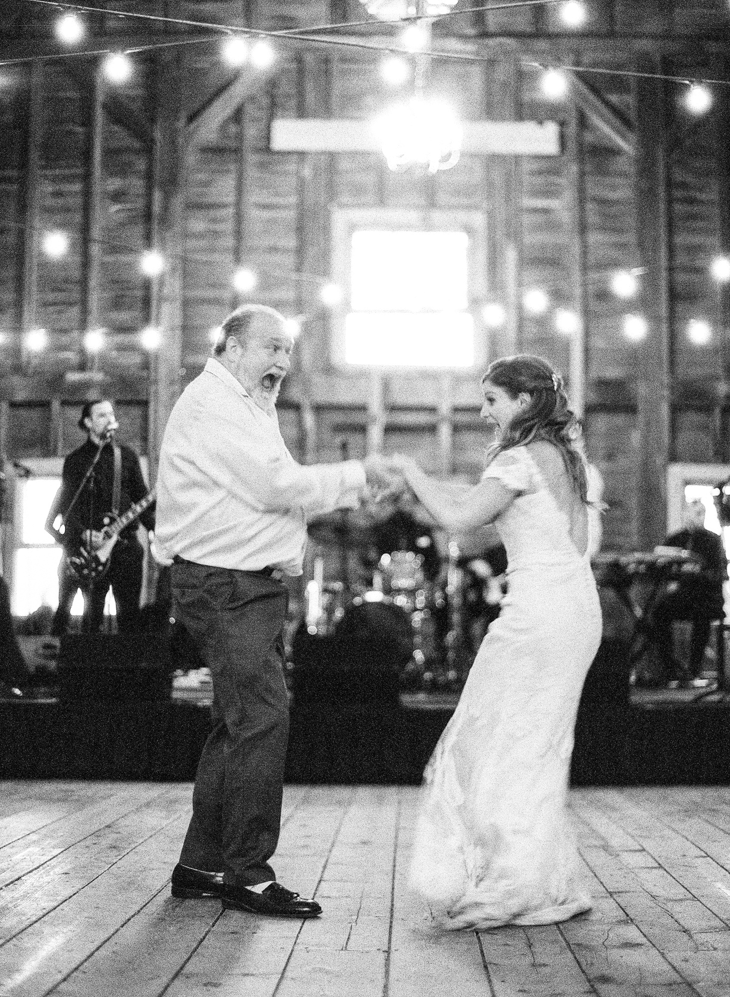 bride and father dancing at reception