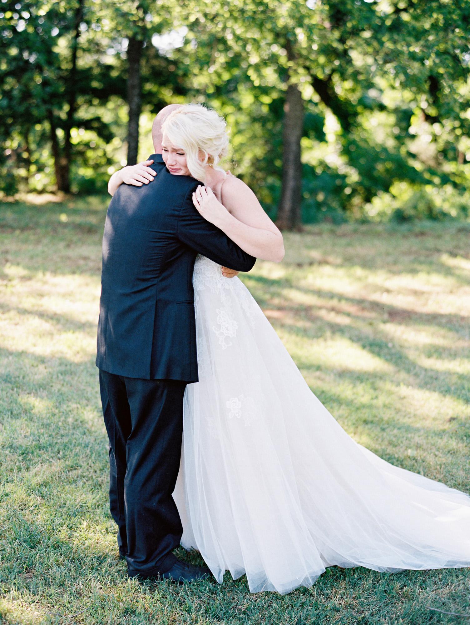 Father-Daughter Wedding Photos, Emotional Hug