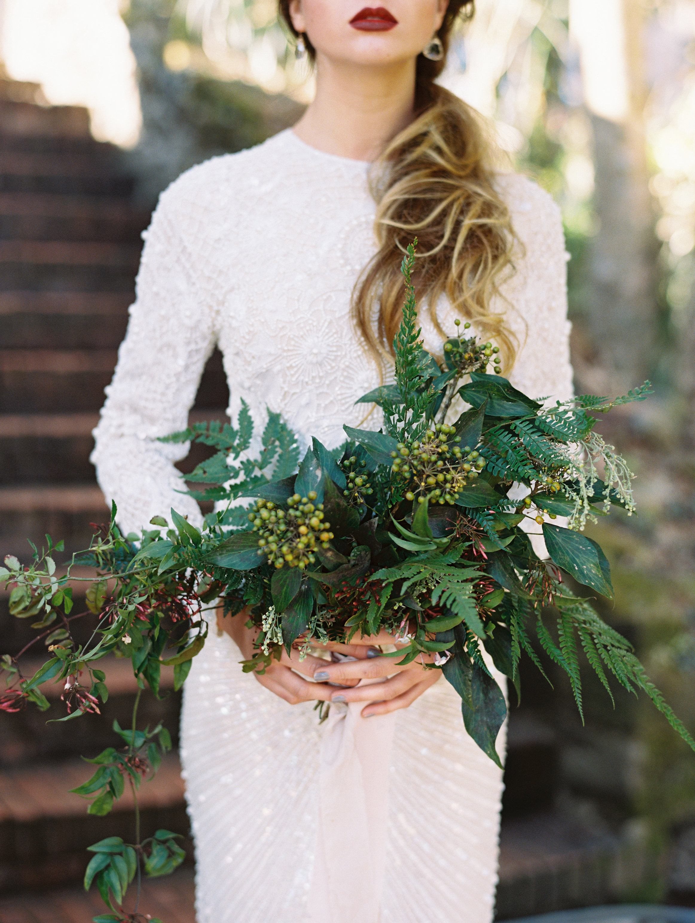 Fern Wedding Bouquet with Only Greenery