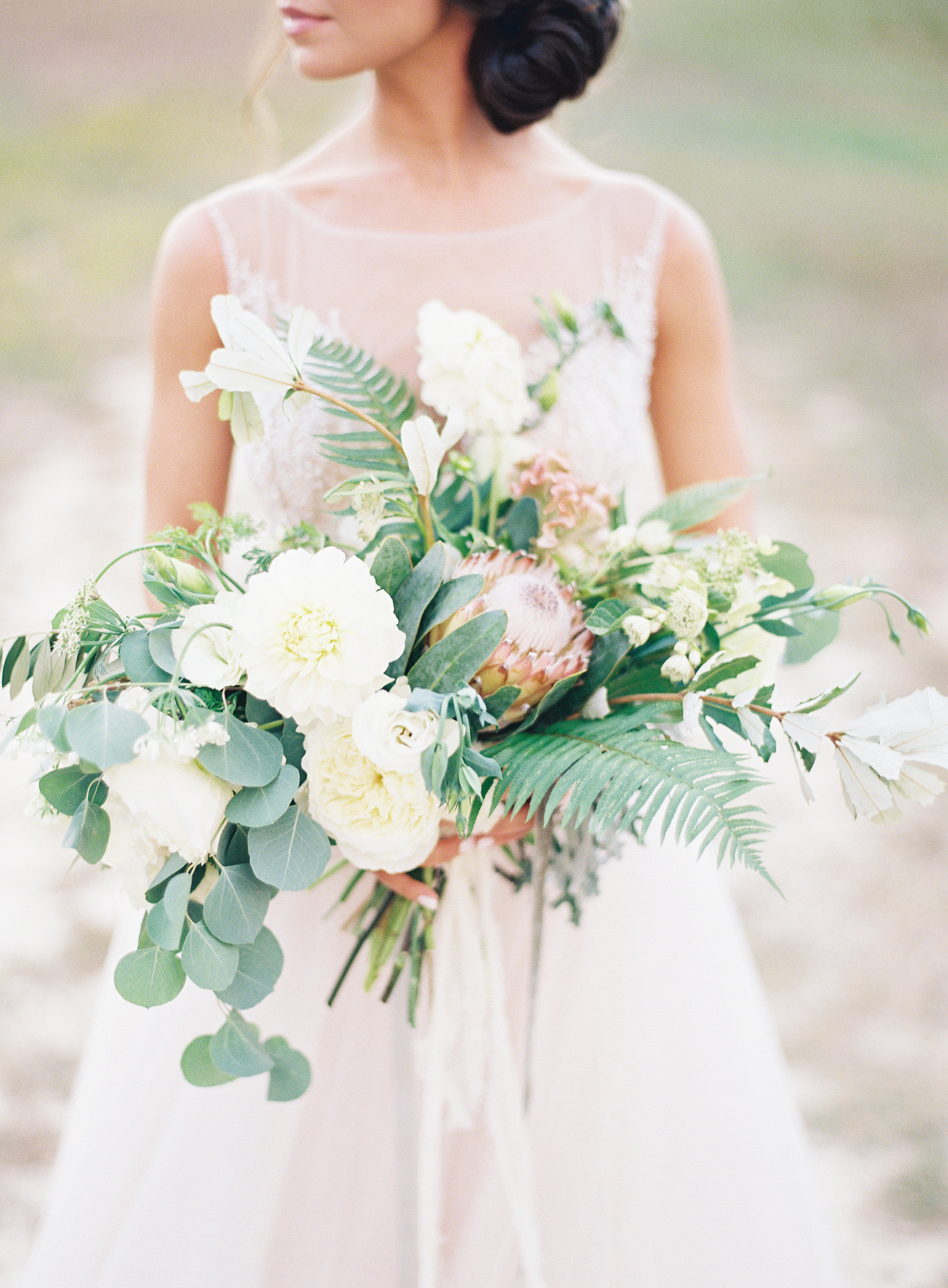 Fern Wedding Bouquet with Garden Roses and Protea