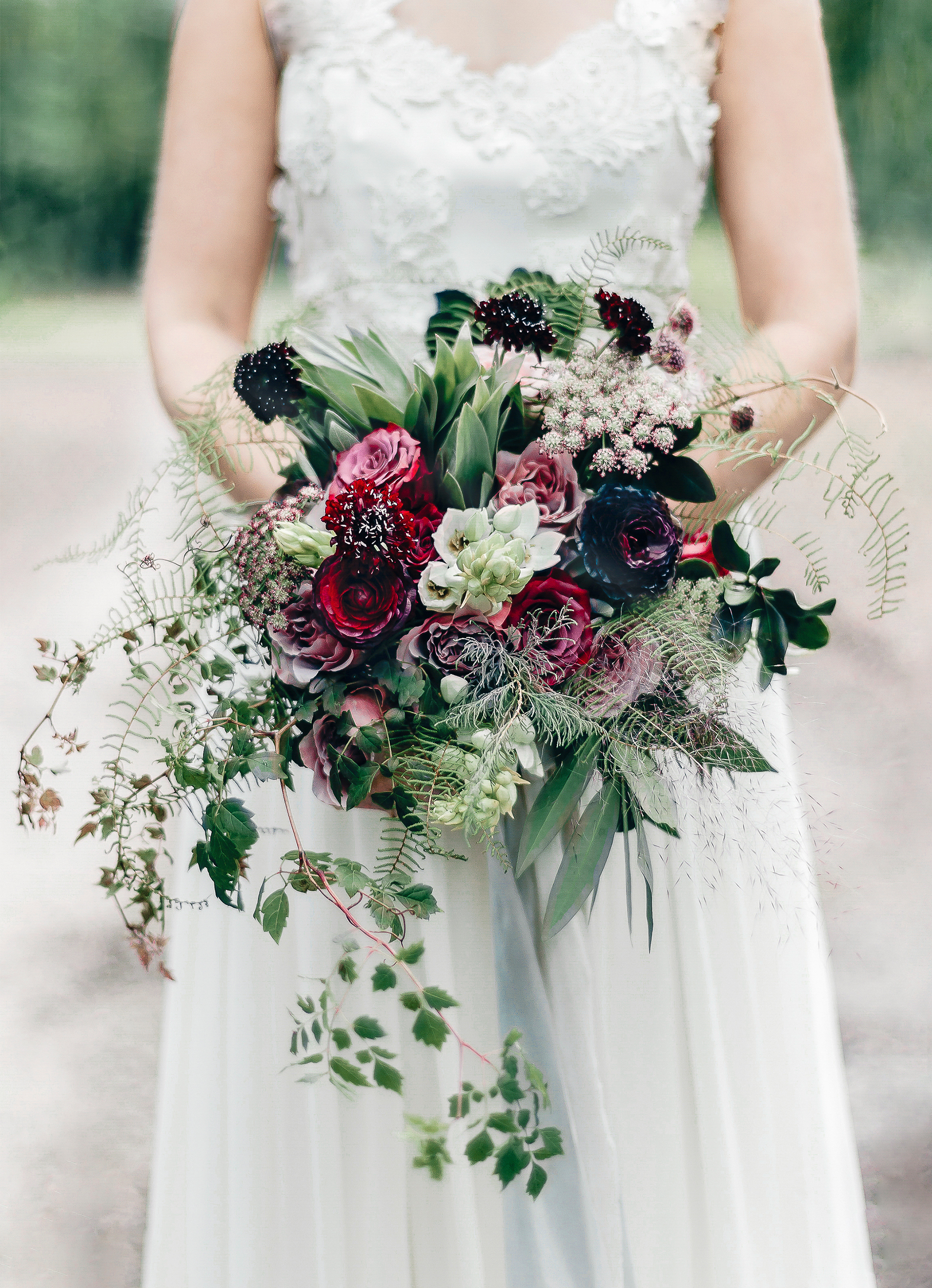 Fern Wedding Bouquet with Mixed Roses