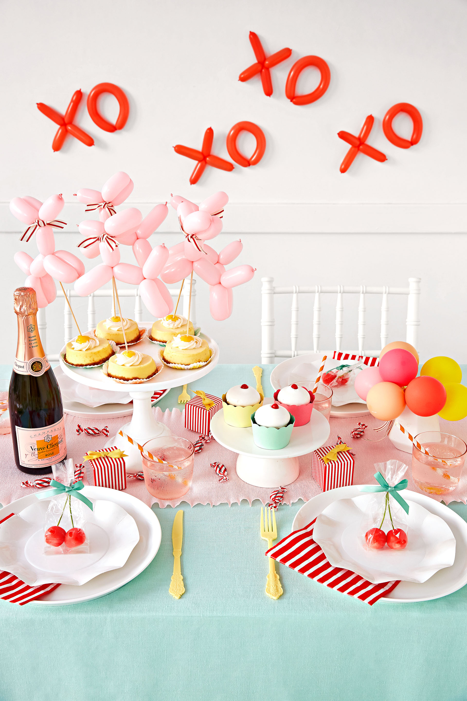 Oh Happy Day French-Inspired Bridal Shower Pink and Blue Tablescape
