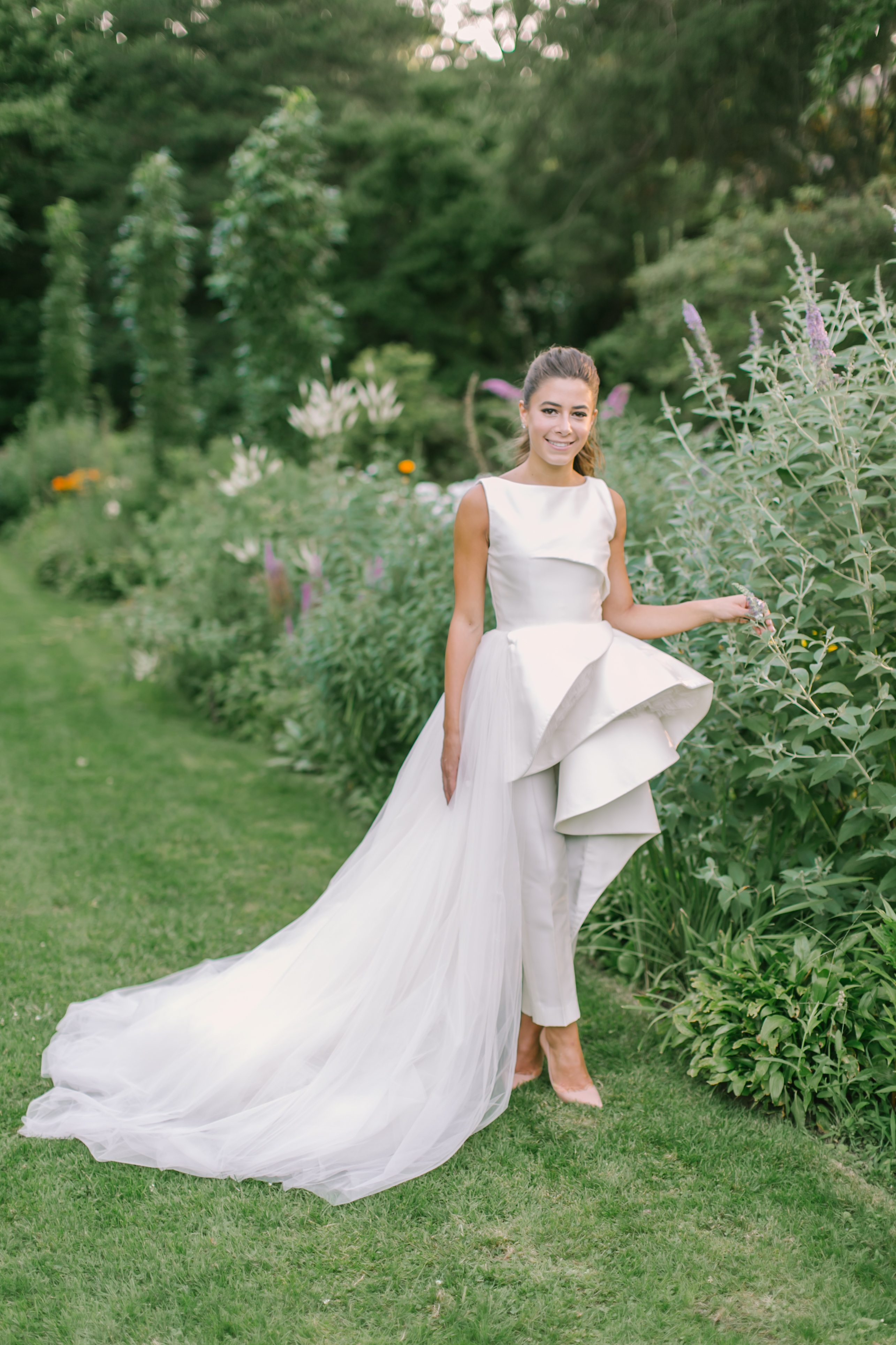 Bride in a Wedding Jumpsuit with a Train