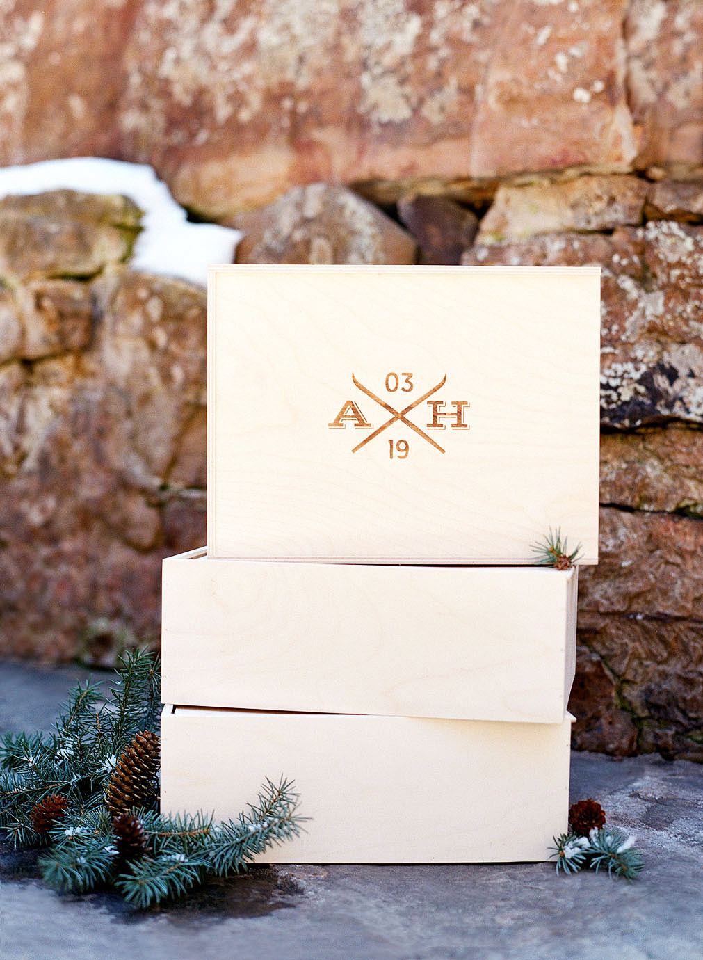 wooden welcome box favors