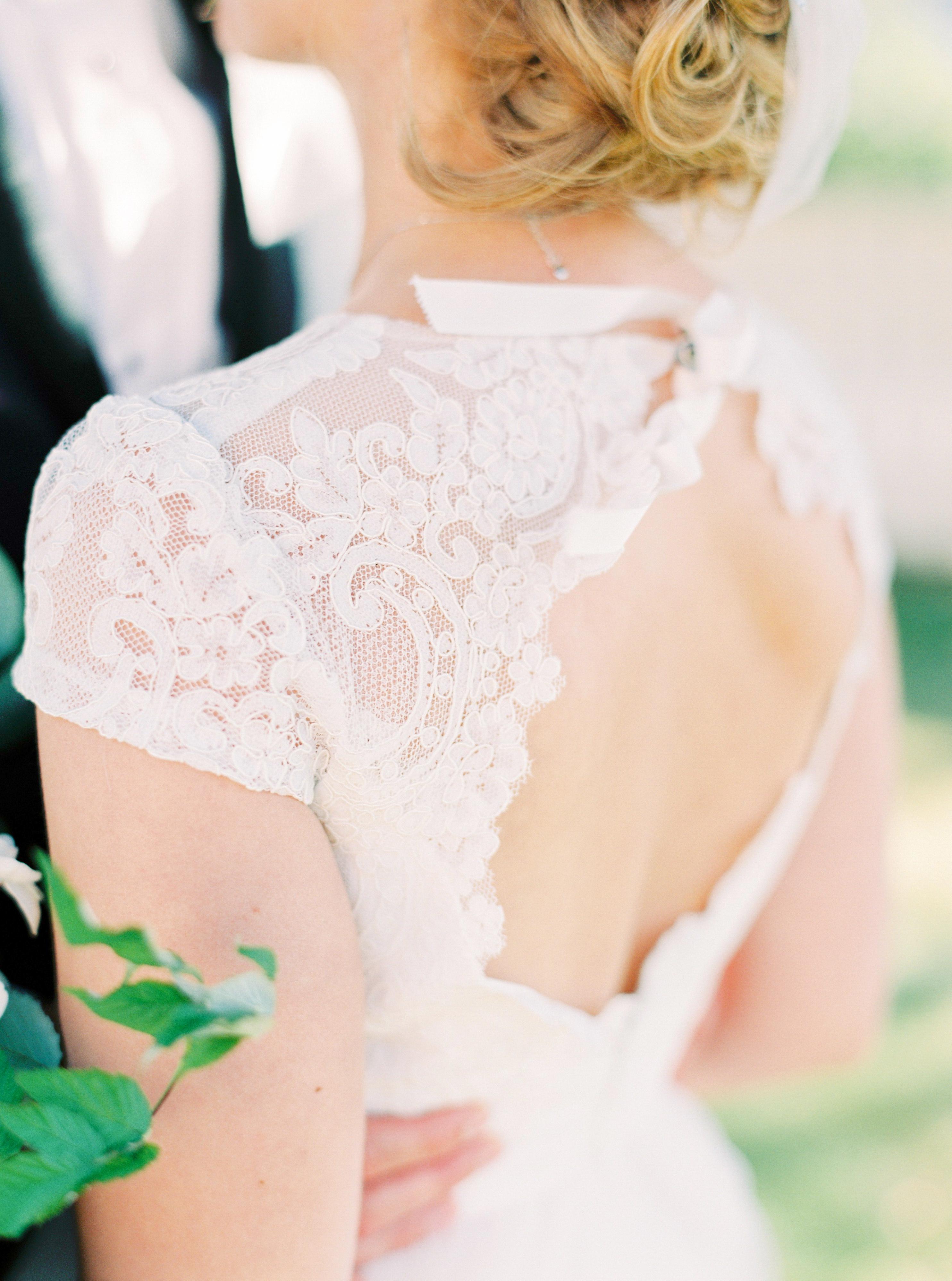 A Bride with an Open Back Wedding Dress