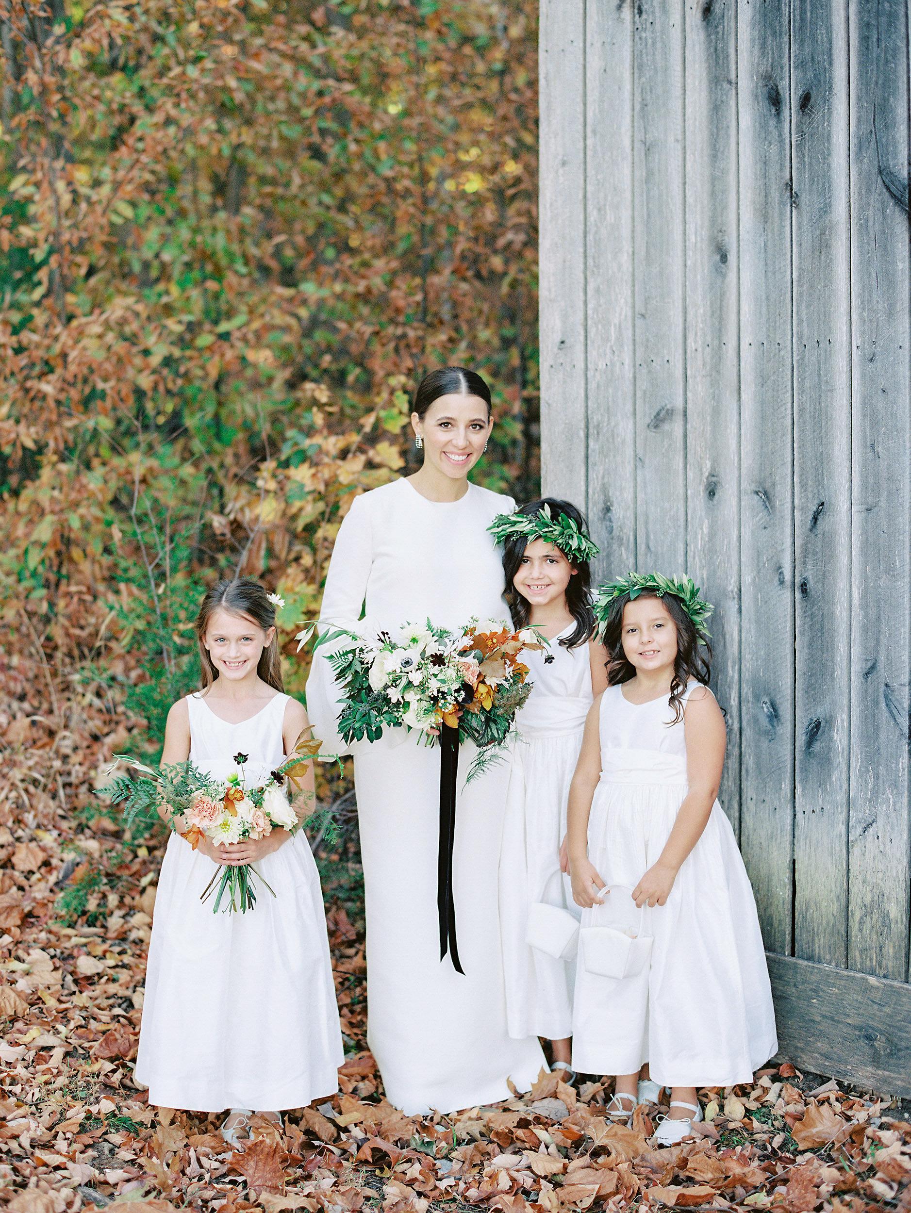 bride with wedding kids