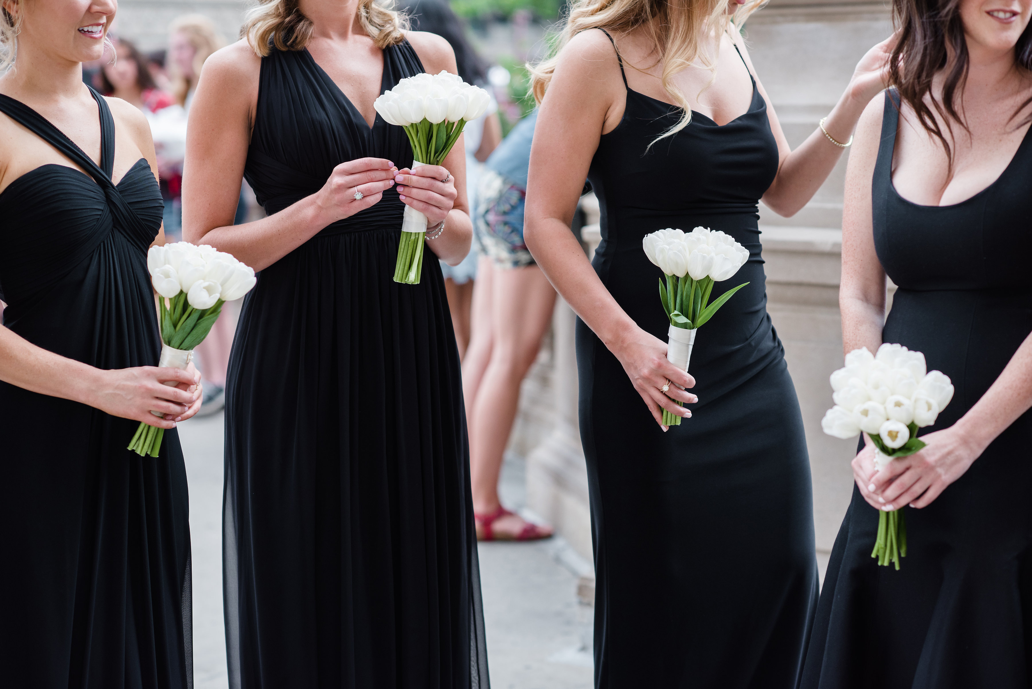 black dresses with white bouquet