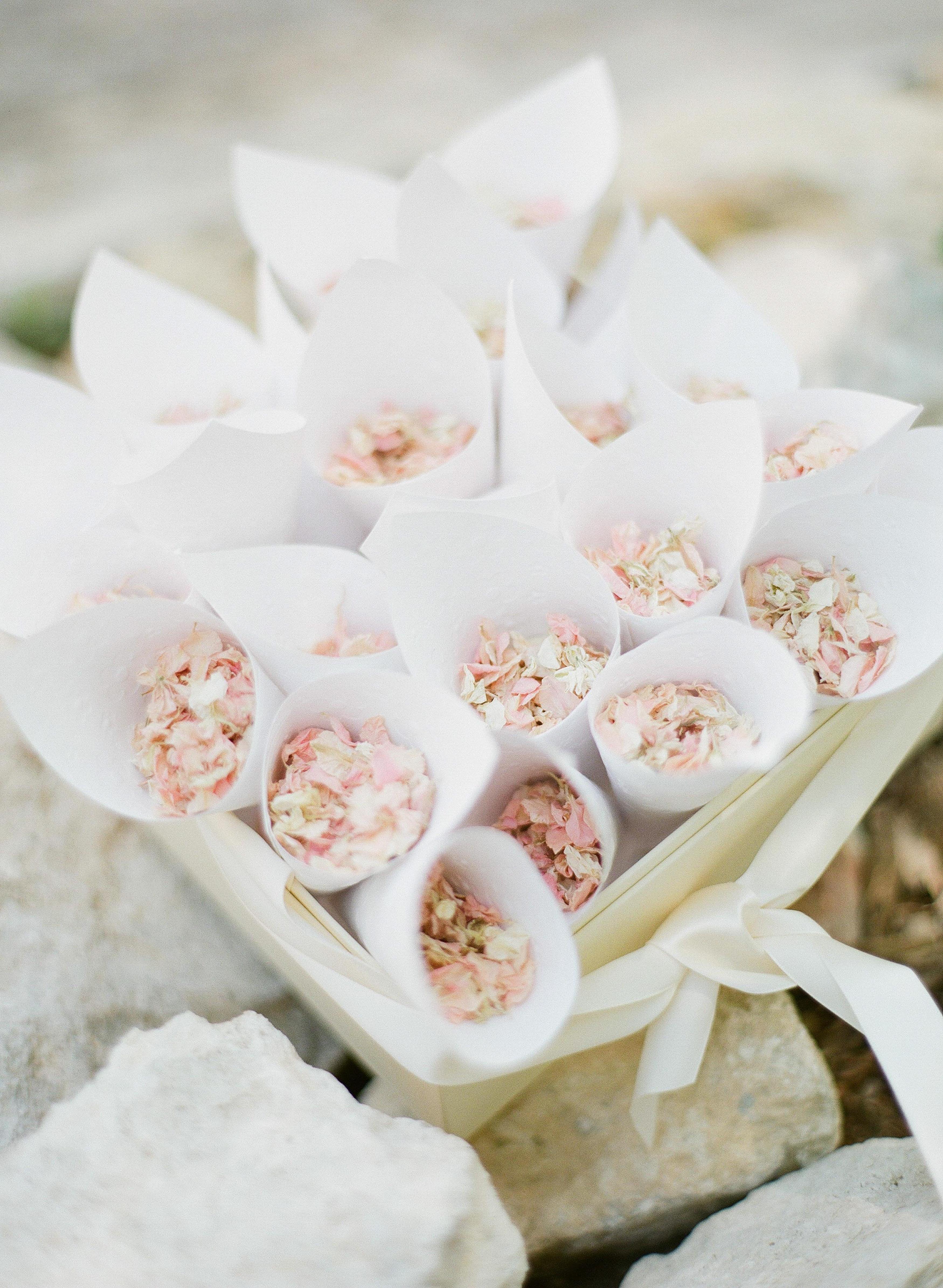 Wedding Flower Petal Bars, Cones with Mini Flowers