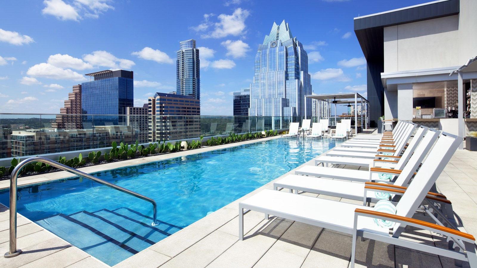 hotel pool skyline