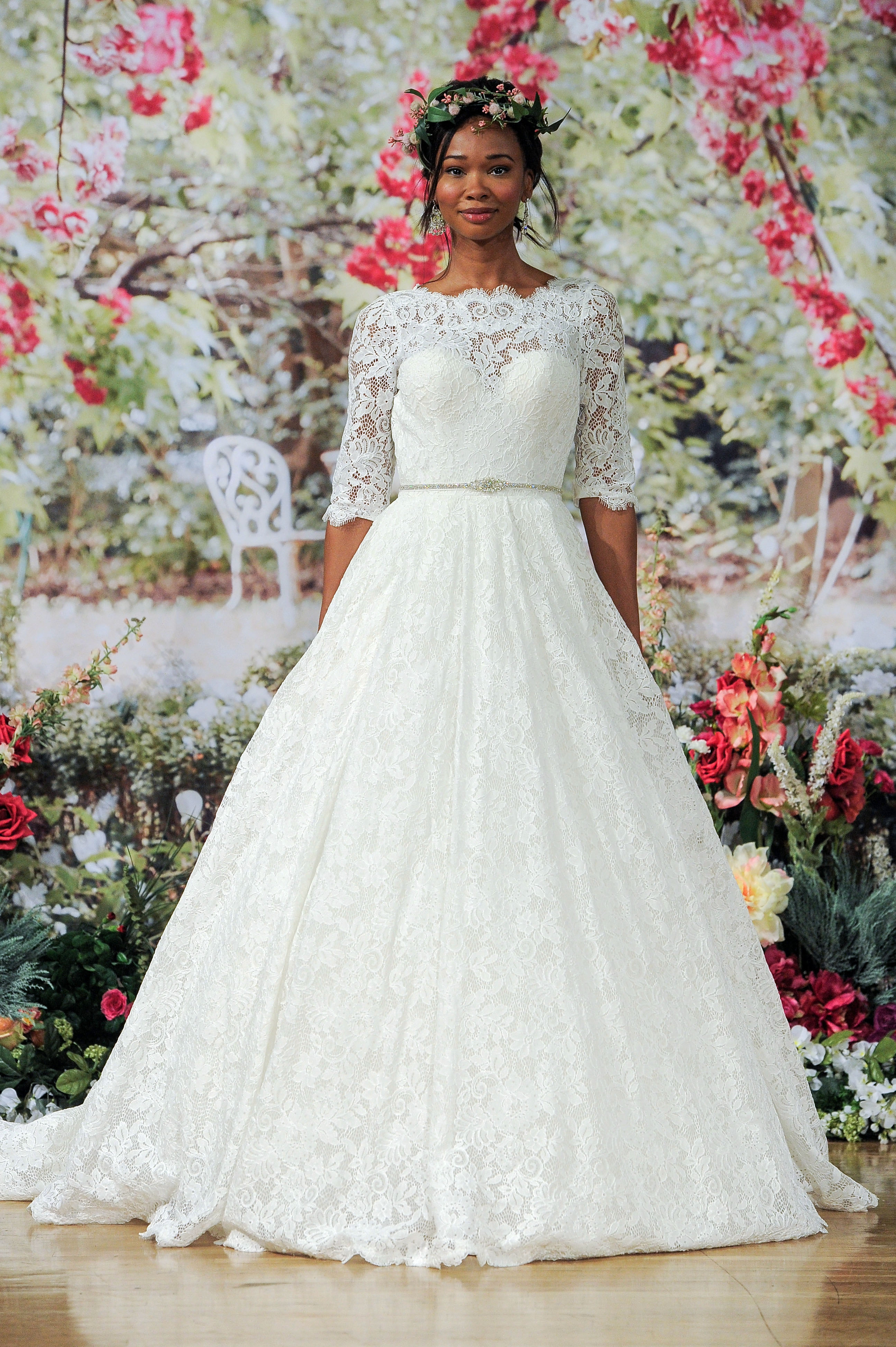 Maggie Sottero Fall 2017 Quarter-Sleeved Wedding Dress with Lace