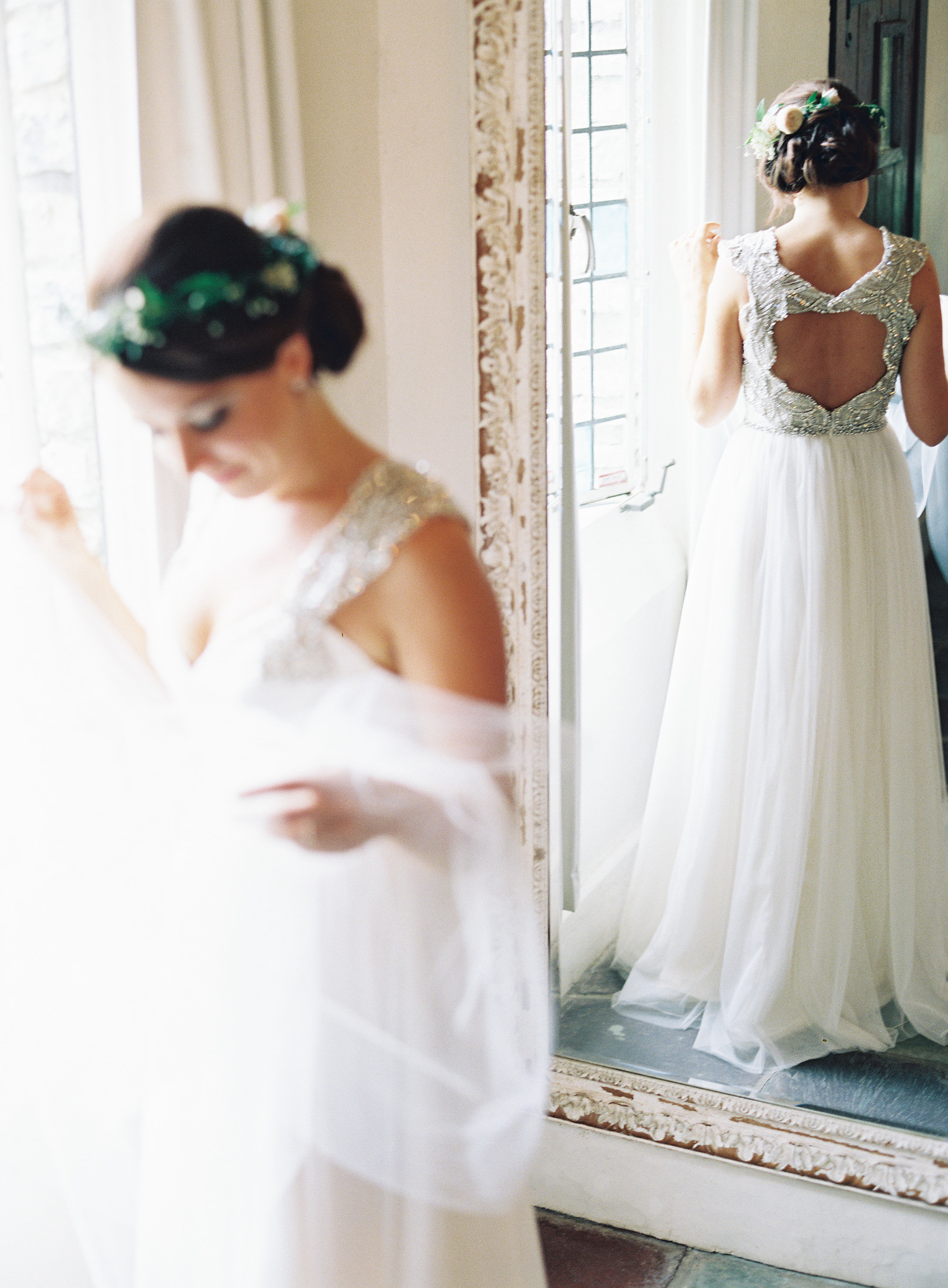 A Bride with an Open-Back Wedding Dress with Sequin Details