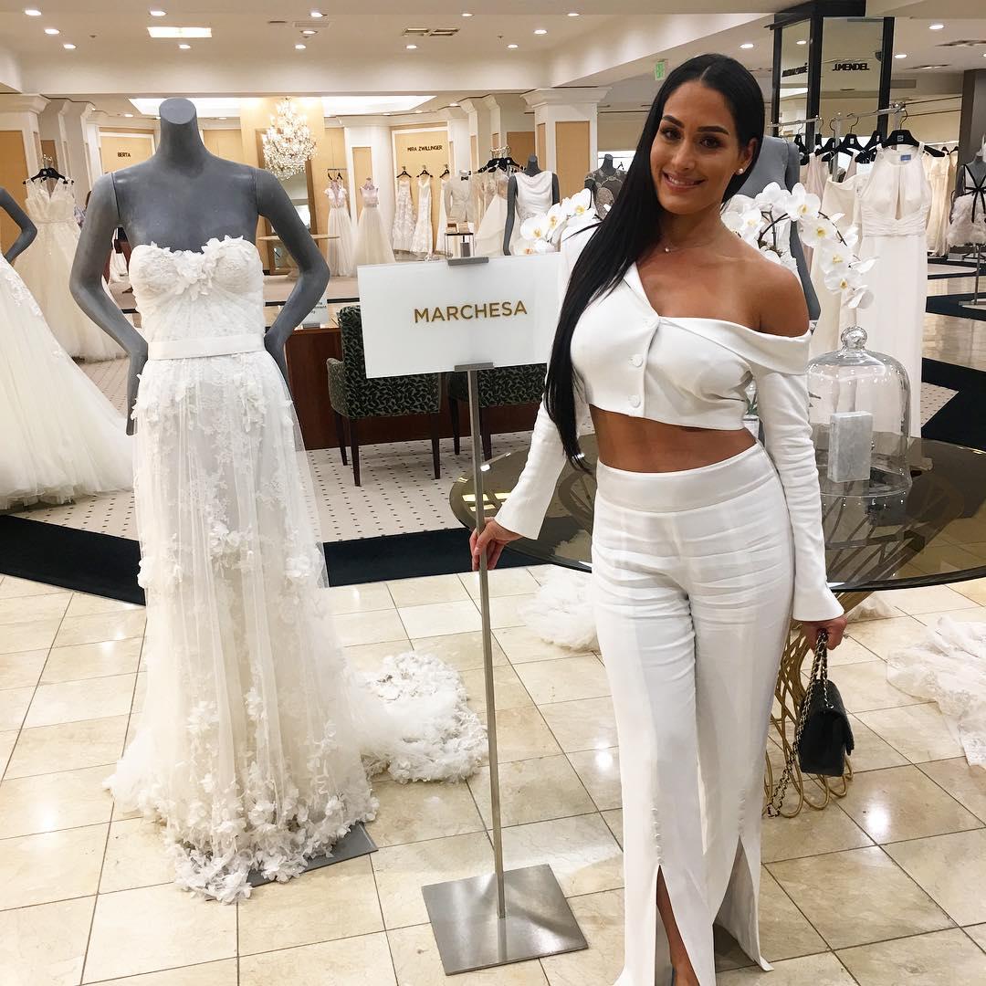 Nikki Bella looking for wedding dresses at Marchesa